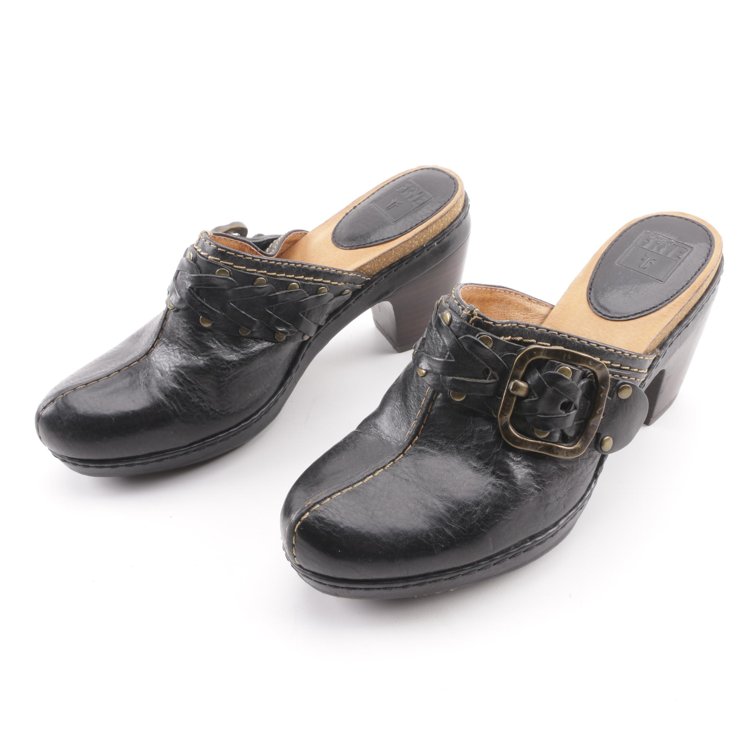Women's Frye Candice Black Leather Woven Clogs