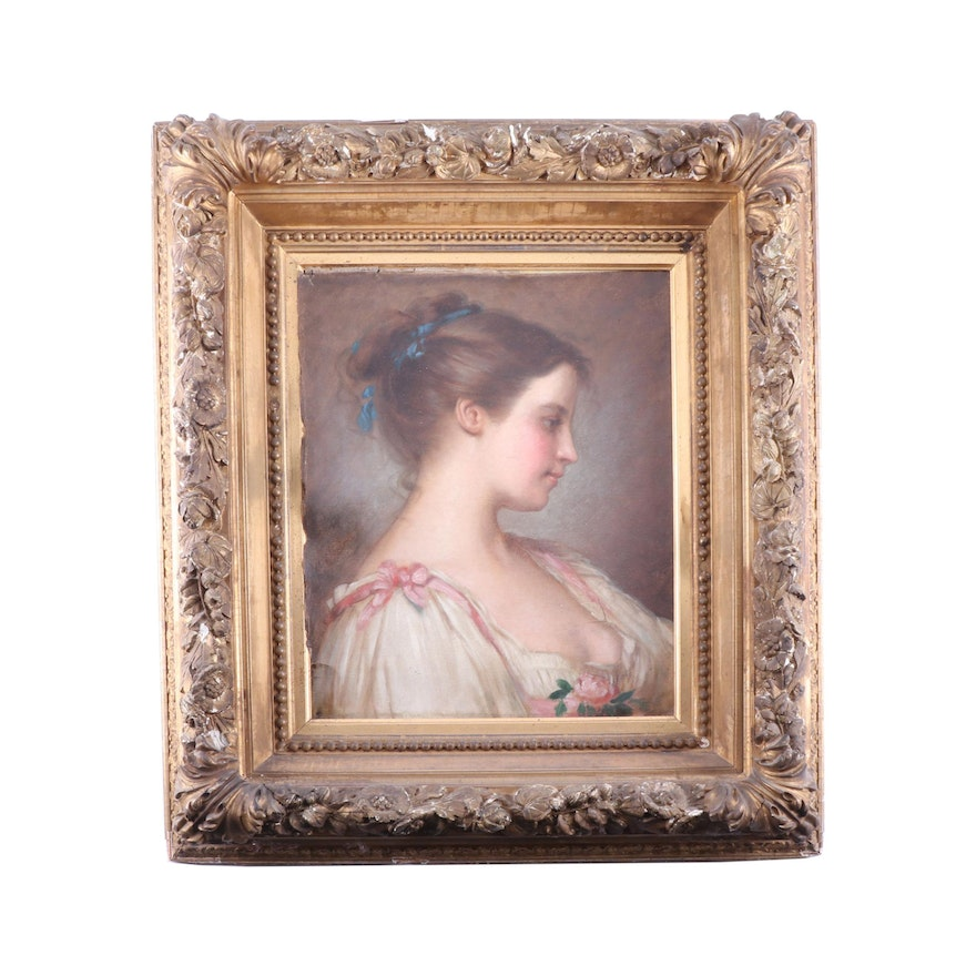 Mid 19th Century European Oil Portrait Painting of a Young Woman