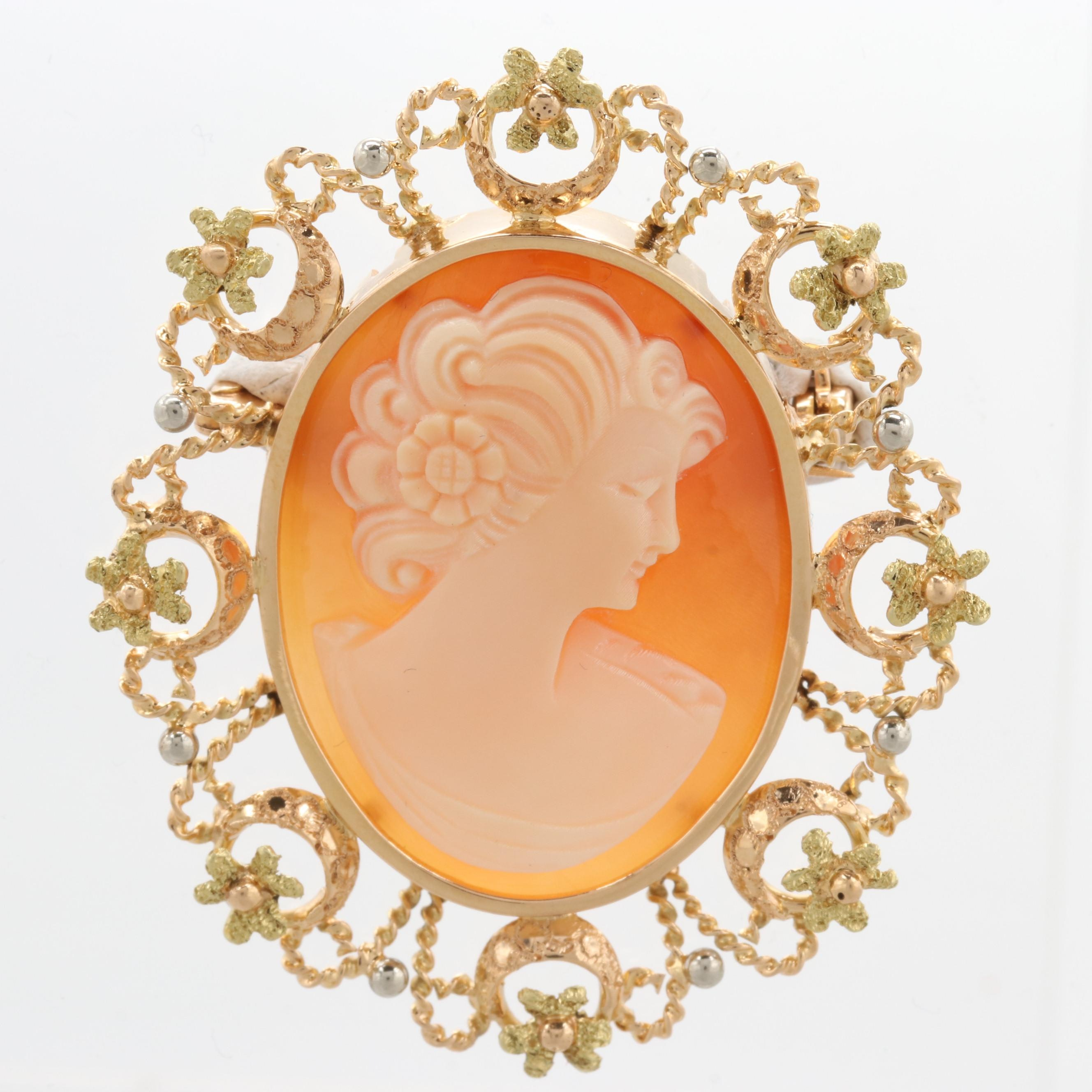 18K Yellow Gold Shell Cameo Brooch