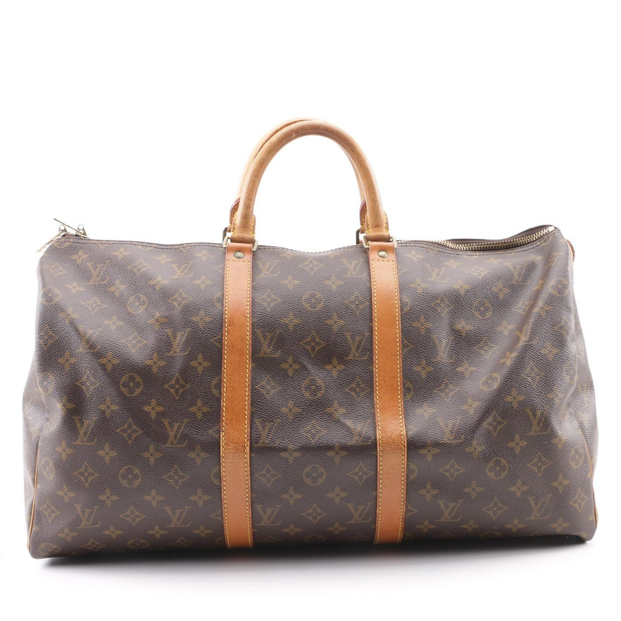 ec31e12d4397 1992 Vintage Louis Vuitton Paris Monogram Canvas Keepall Duffle Bag ...