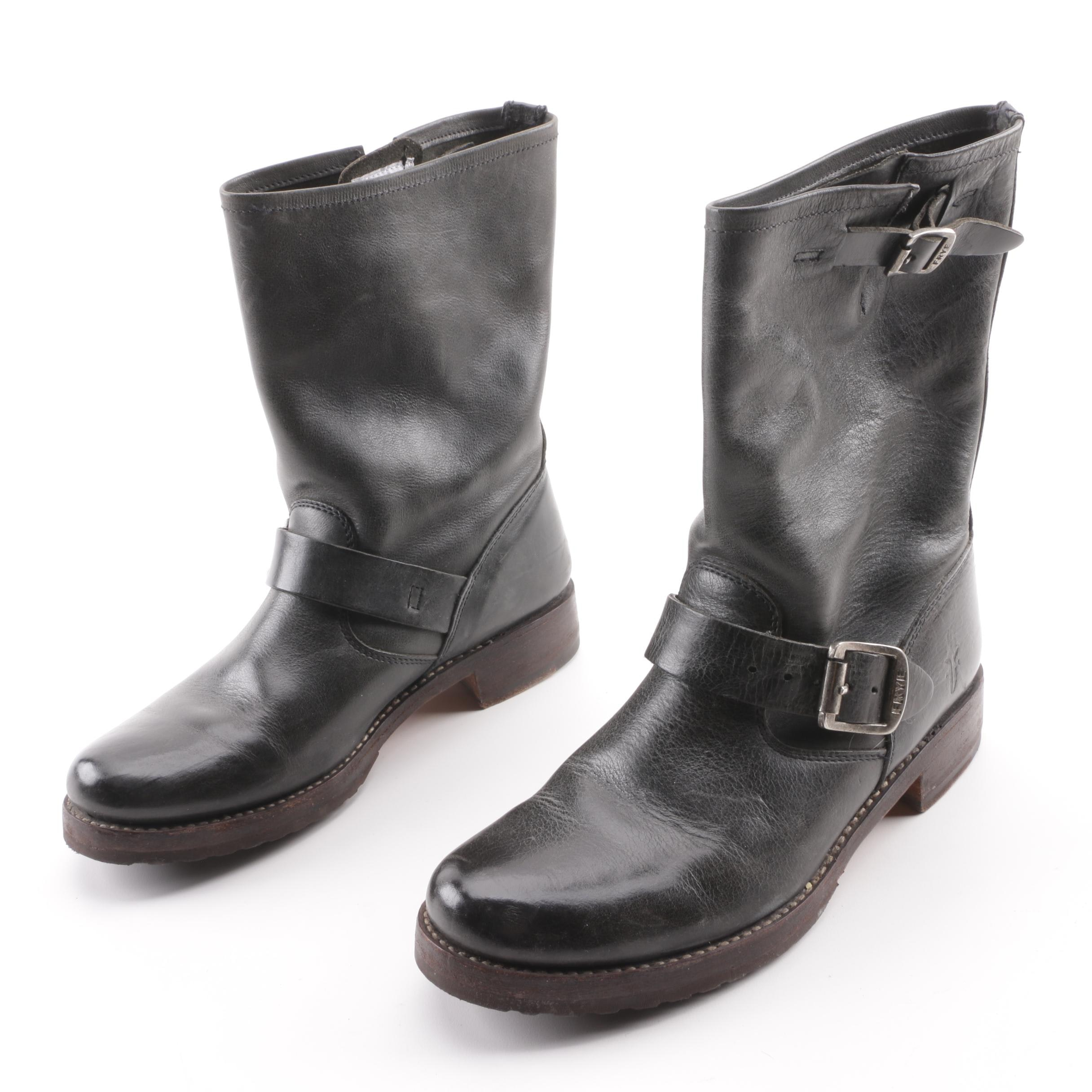 Women's Frye Veronica Black Leather Short Boots