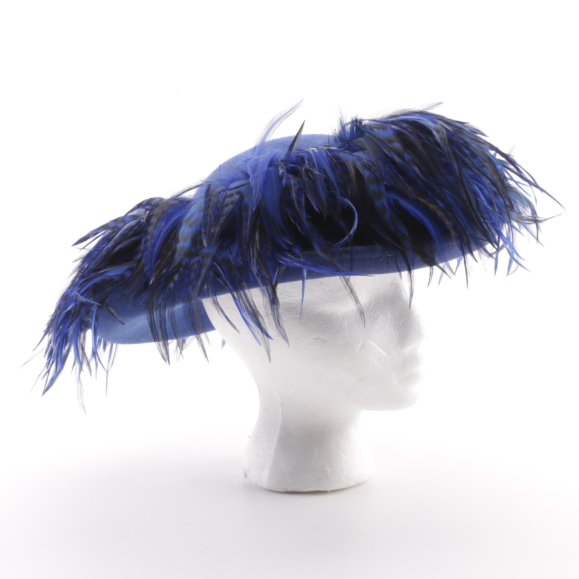 Vintage George W. Bollman & Co. Blue Felted Wool Hat with Feathers