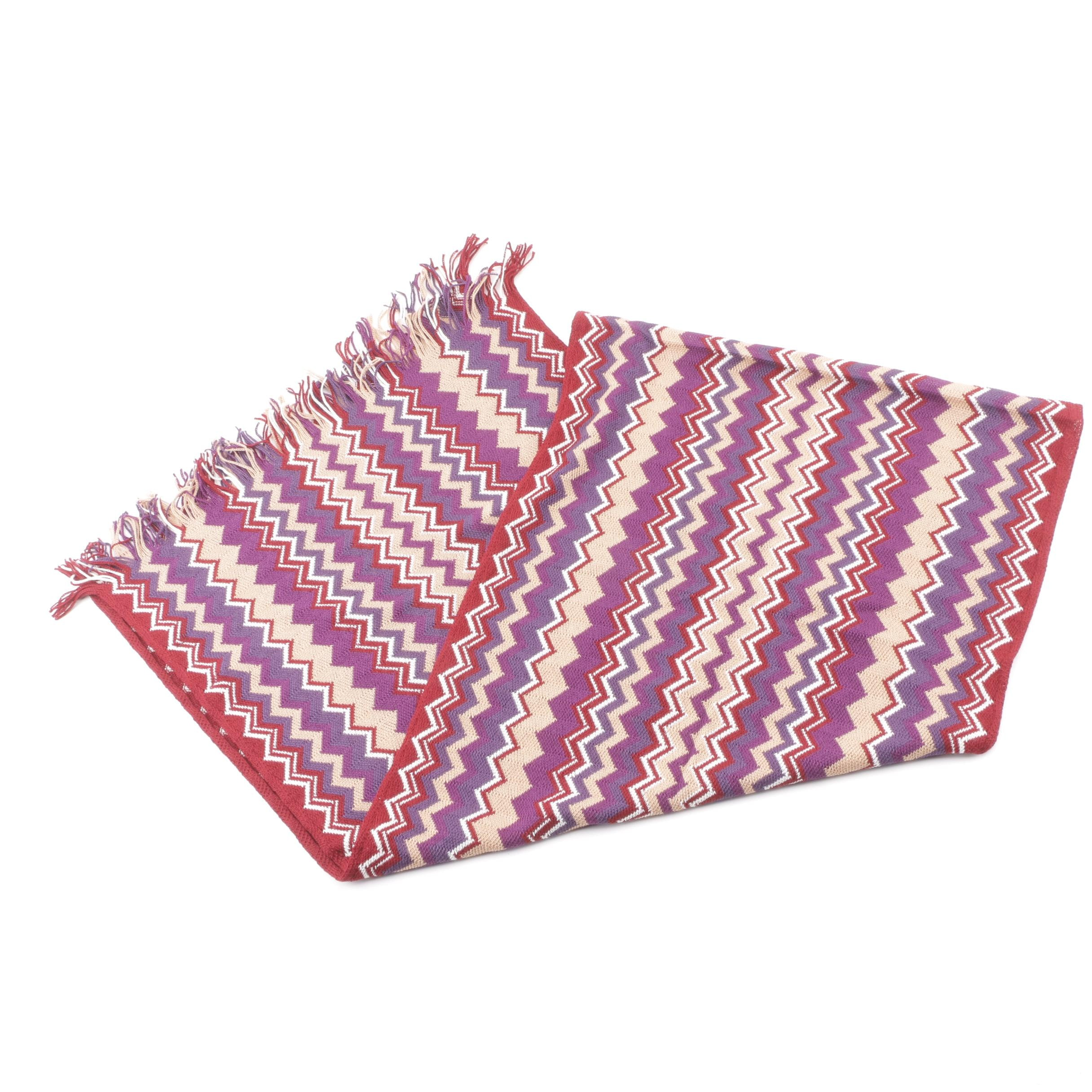 Missoni Multicolored Chevron Wool and Acrylic Blend Knit Scarf