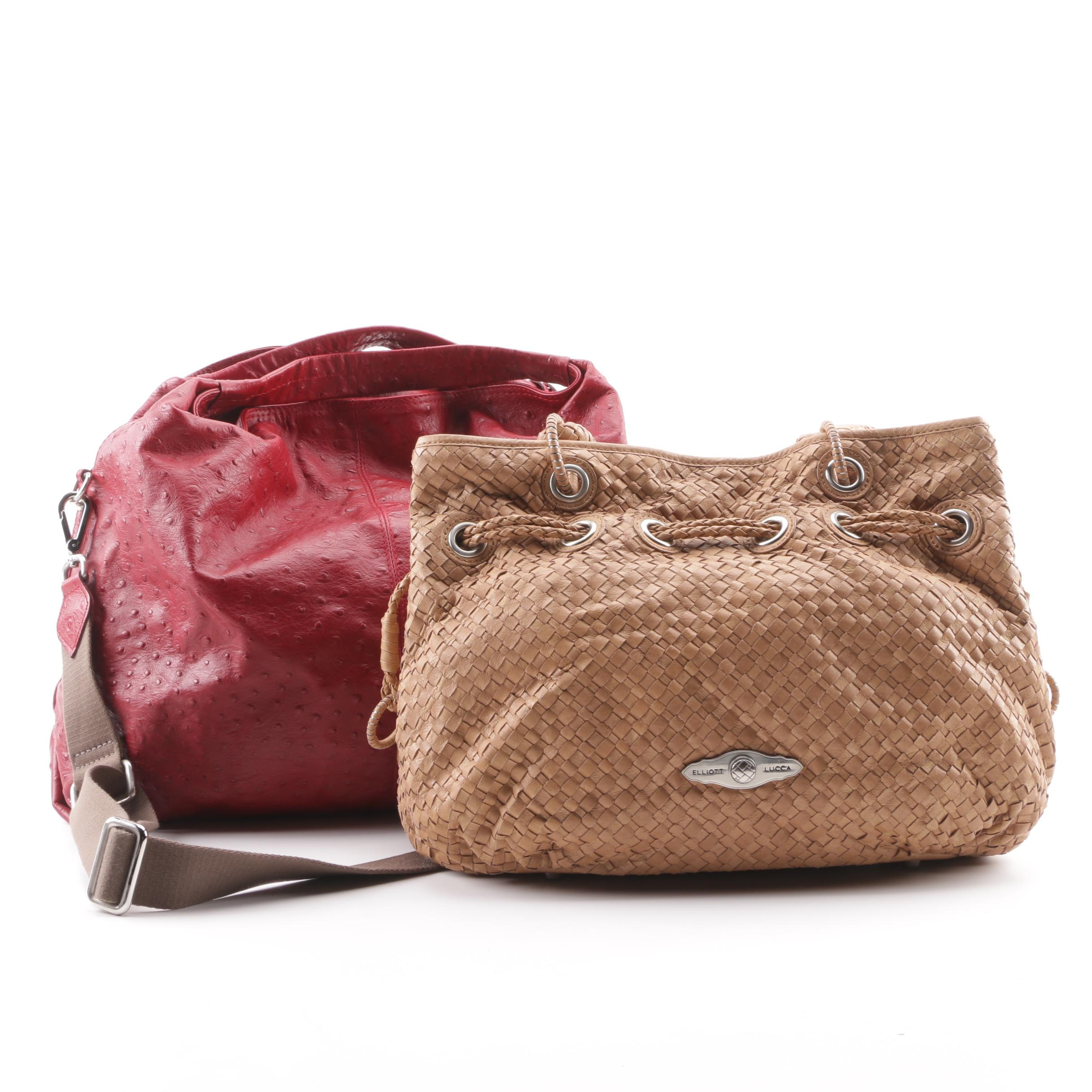 Elliott Lucca Woven Leather Bag and Furla Ostrich Embossed Hobo Bag