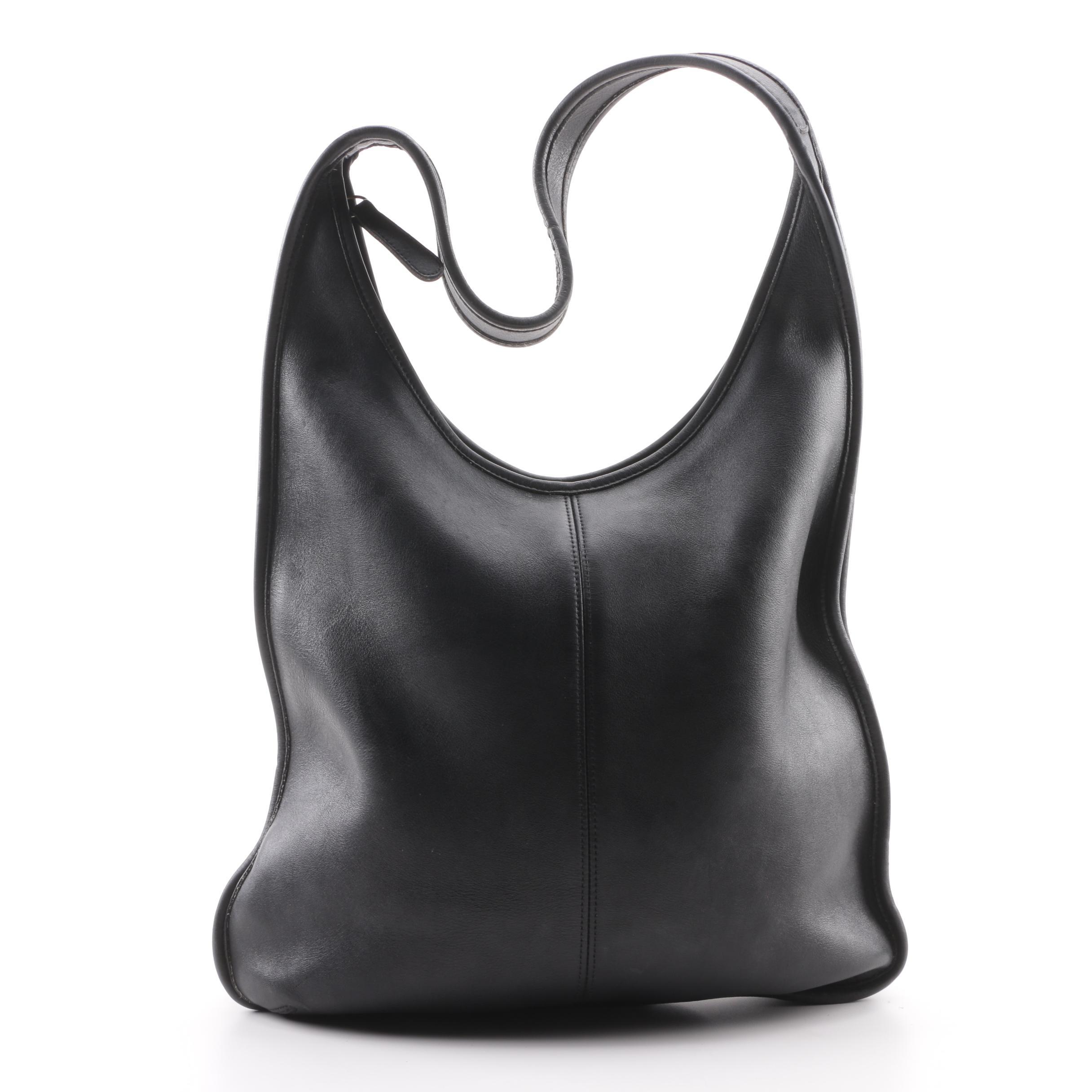 0f3eba32467 italy 1997 vintage coach black leather hobo bag e40f9 e05d5