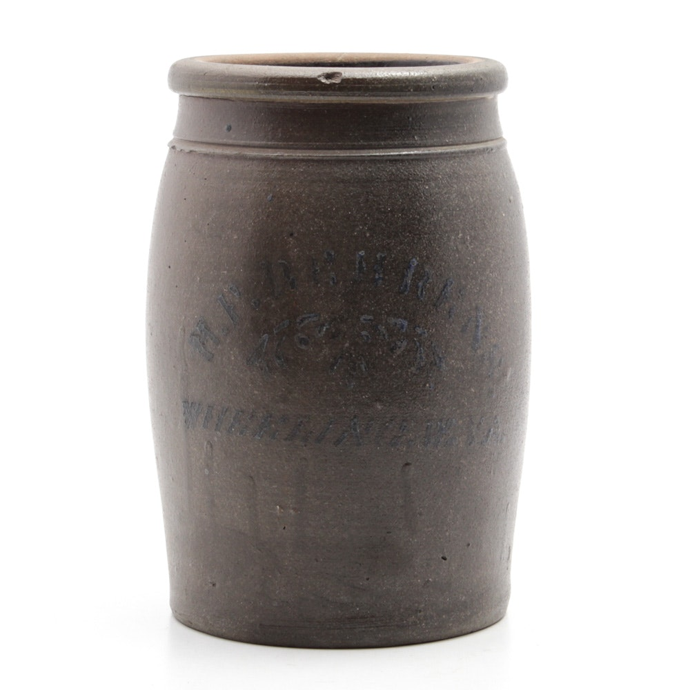 Circa 1870s H.F. Behrens West Virginia Stoneware Gallon Jar