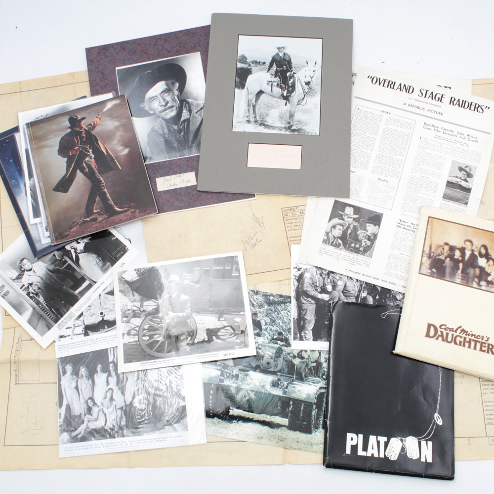 Original Classic Film Press Kits, Signed Photos, Stage Plans, and Memorabilia