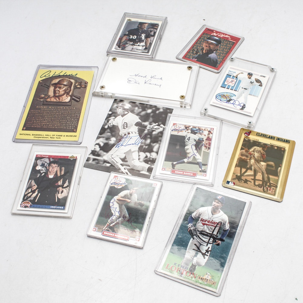 Signed Baseball Cards Featuring Ernie Banks, Cal Ripkin and More
