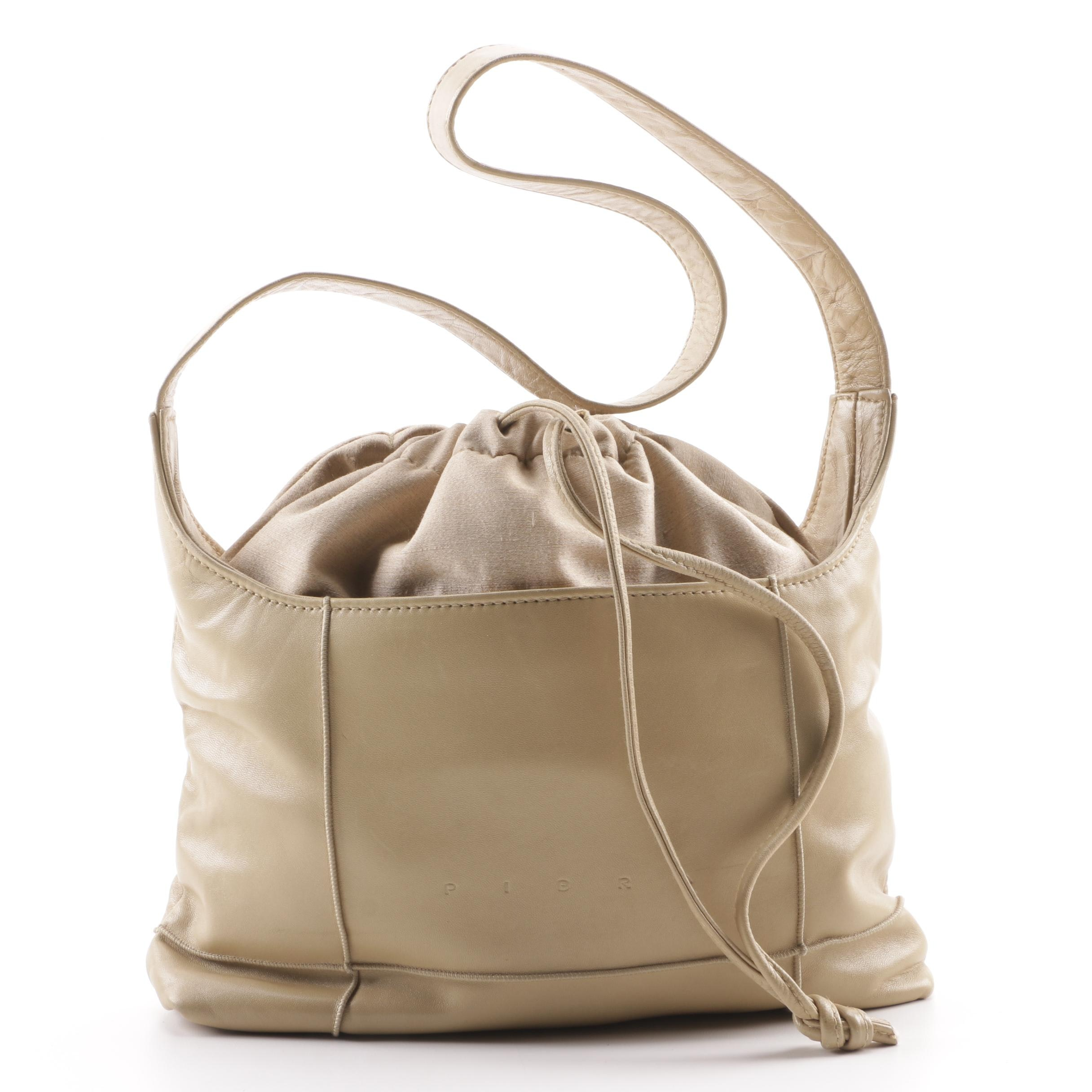 Pibra Beige Leather and Textile Drawstring Hobo Shoulder Bag, Made in Italy
