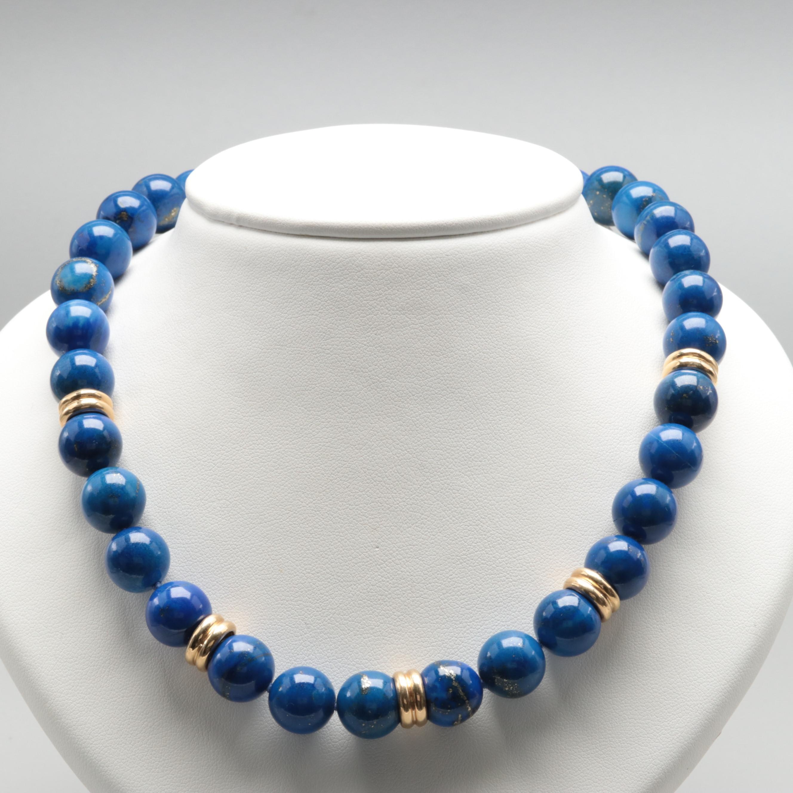 14K Yellow Gold Lapis Lazuli Necklace