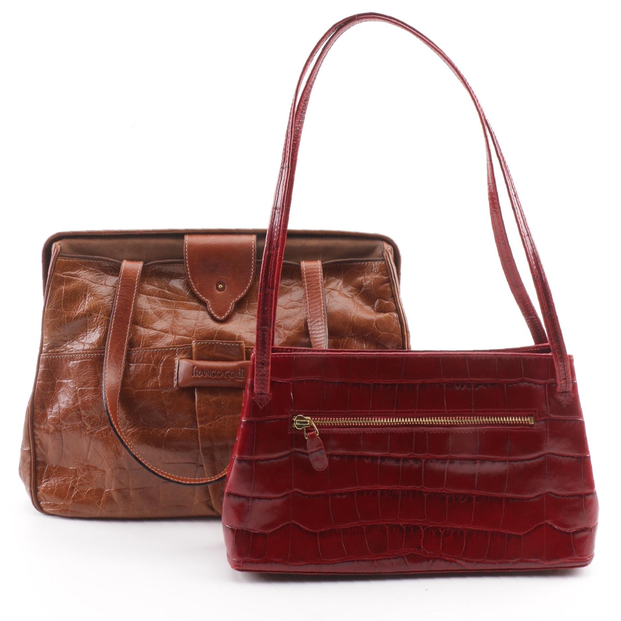 Embossed Crocodile Leather Franco Godi Doctor's Handbag Monsac Shoulder Bag