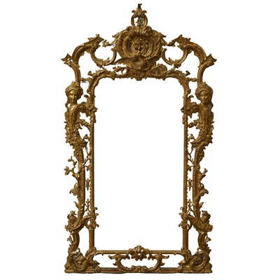 Louis XV Style Carved Giltwood Wall Mount Mirror, Early/Mid-20th Century