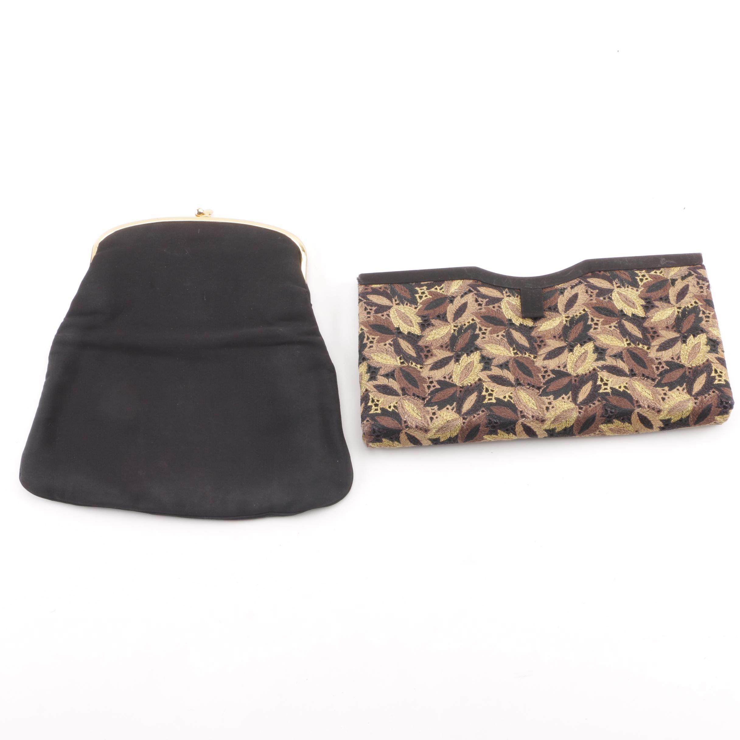 Vintage Coblentz Black Frame Bag and Bobbie Jerome Embroidered Foliate Clutch