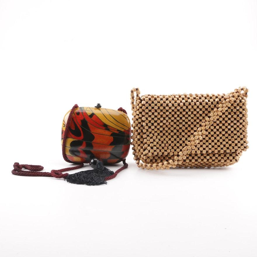 Rafael Sanchez Painted Wooden Crossbody And The Sak Bead Handbag