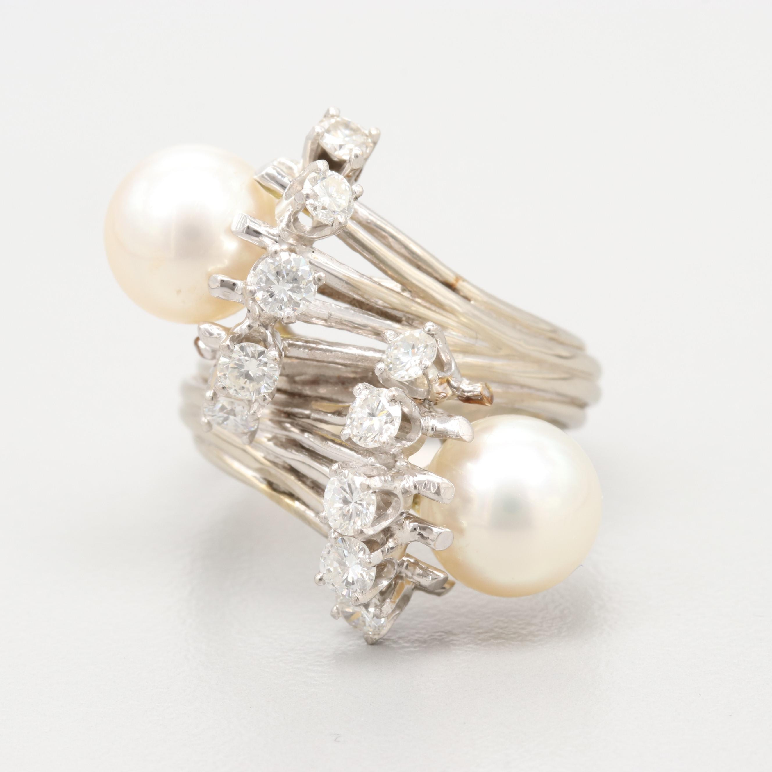 14K White Gold Cultured Pearl and 0.90 CTW Diamond Ring