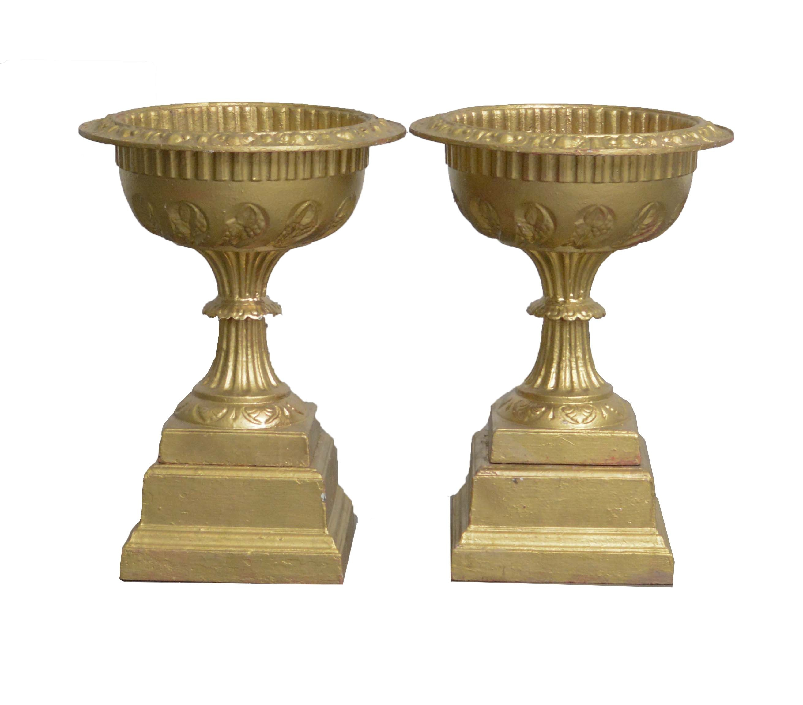 Neoclassical Style Urn Shaped Painted Iron Planters on Beveled Stands