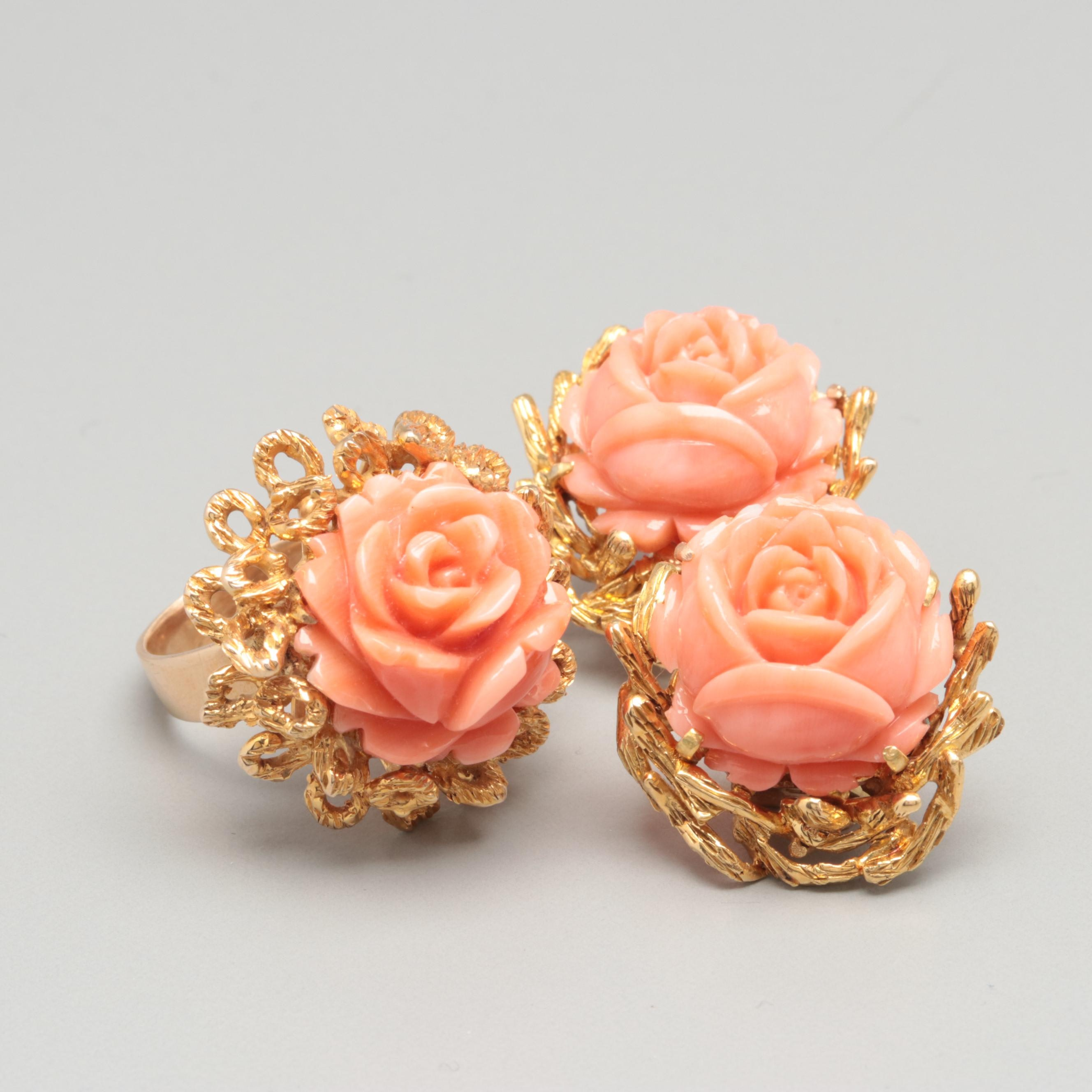 14K Yellow Gold Coral Ring and Earrings Set