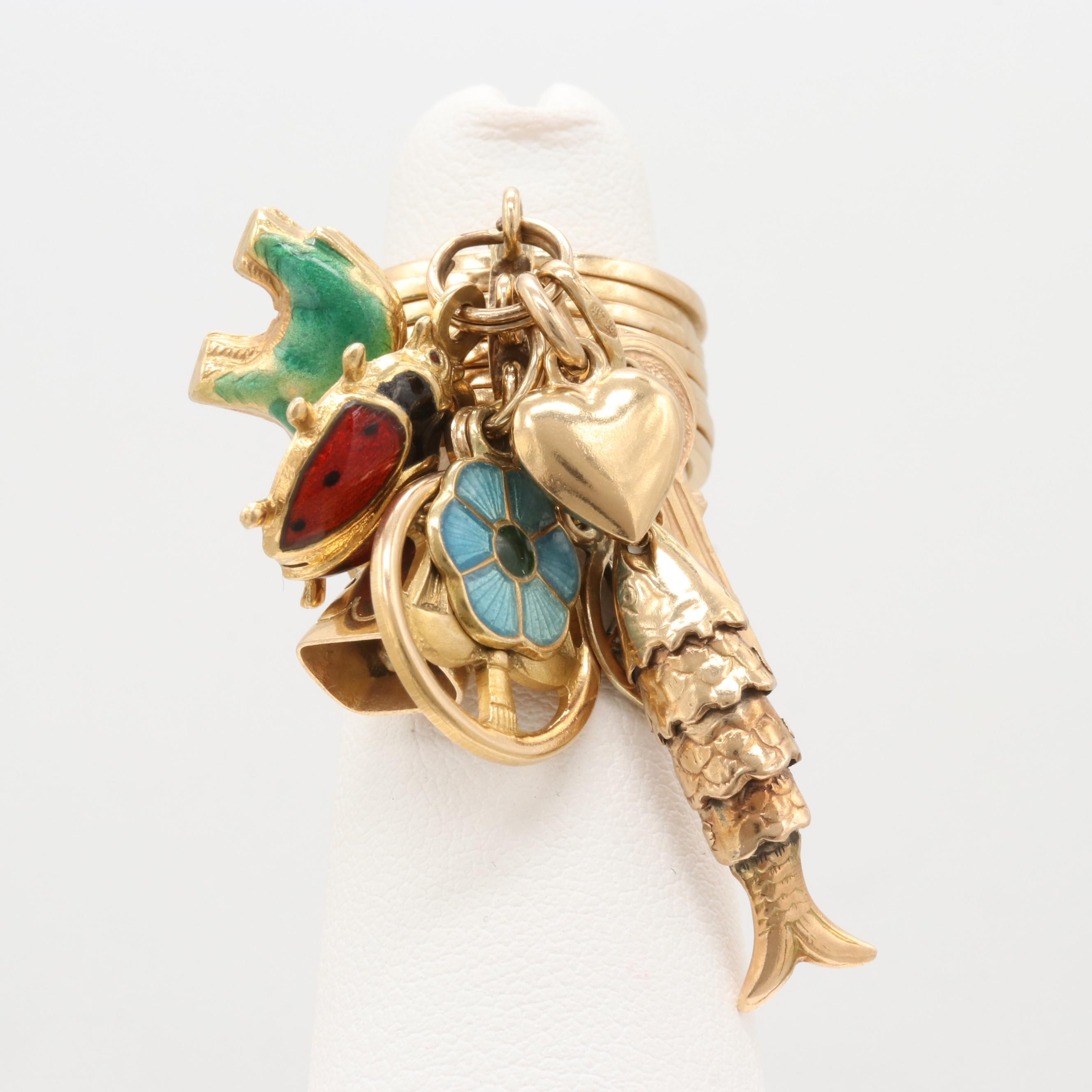 18K Yellow Gold Ring with 10K, 14K, and 18K Yellow Gold Enamel Charms