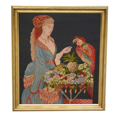 Needlepoint of Woman Feeding a Parrot