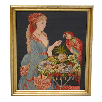 Needlepoint of Woman Feeding a Parrot