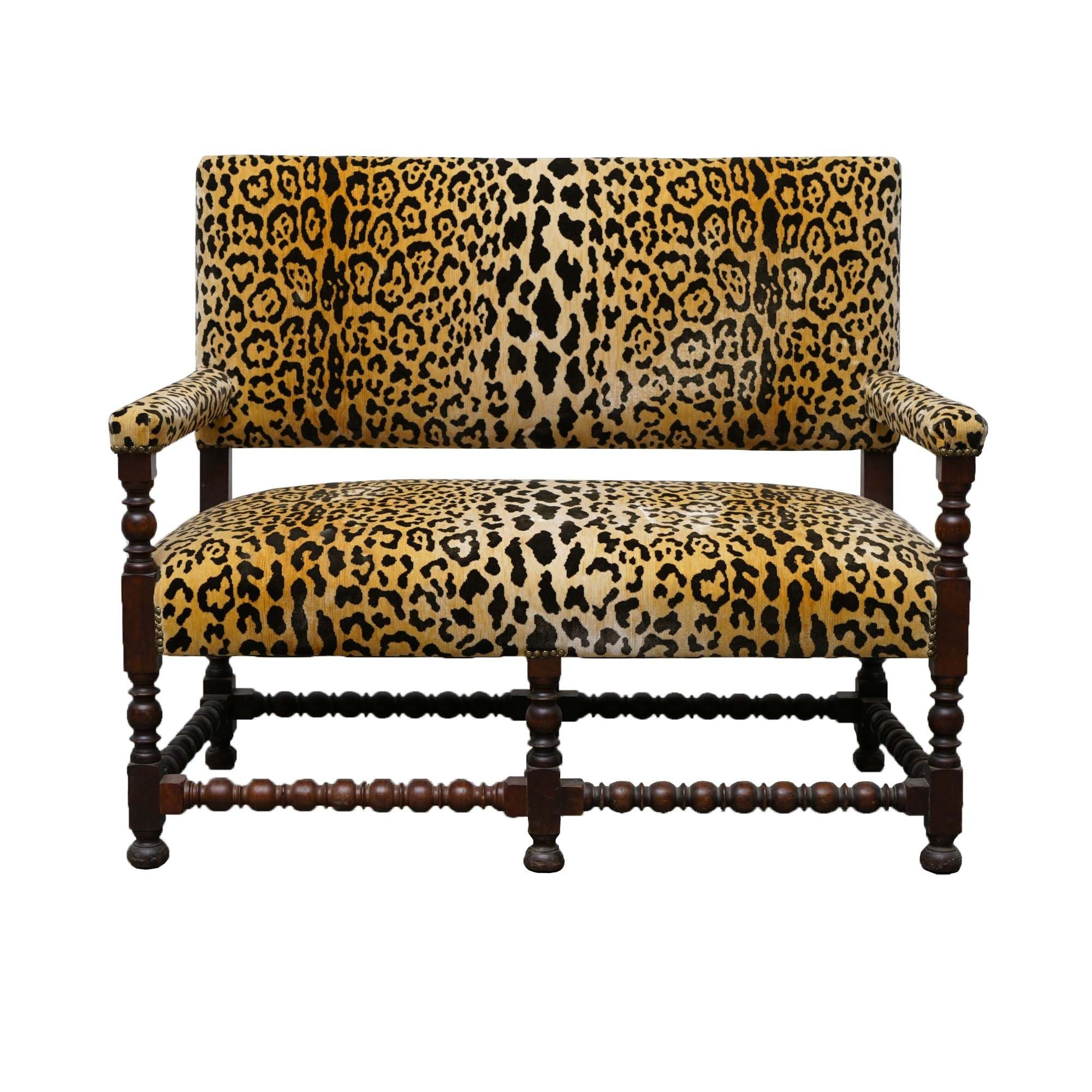 William and Mary Style Settee with Scalamandre Upholstery, 20th Century