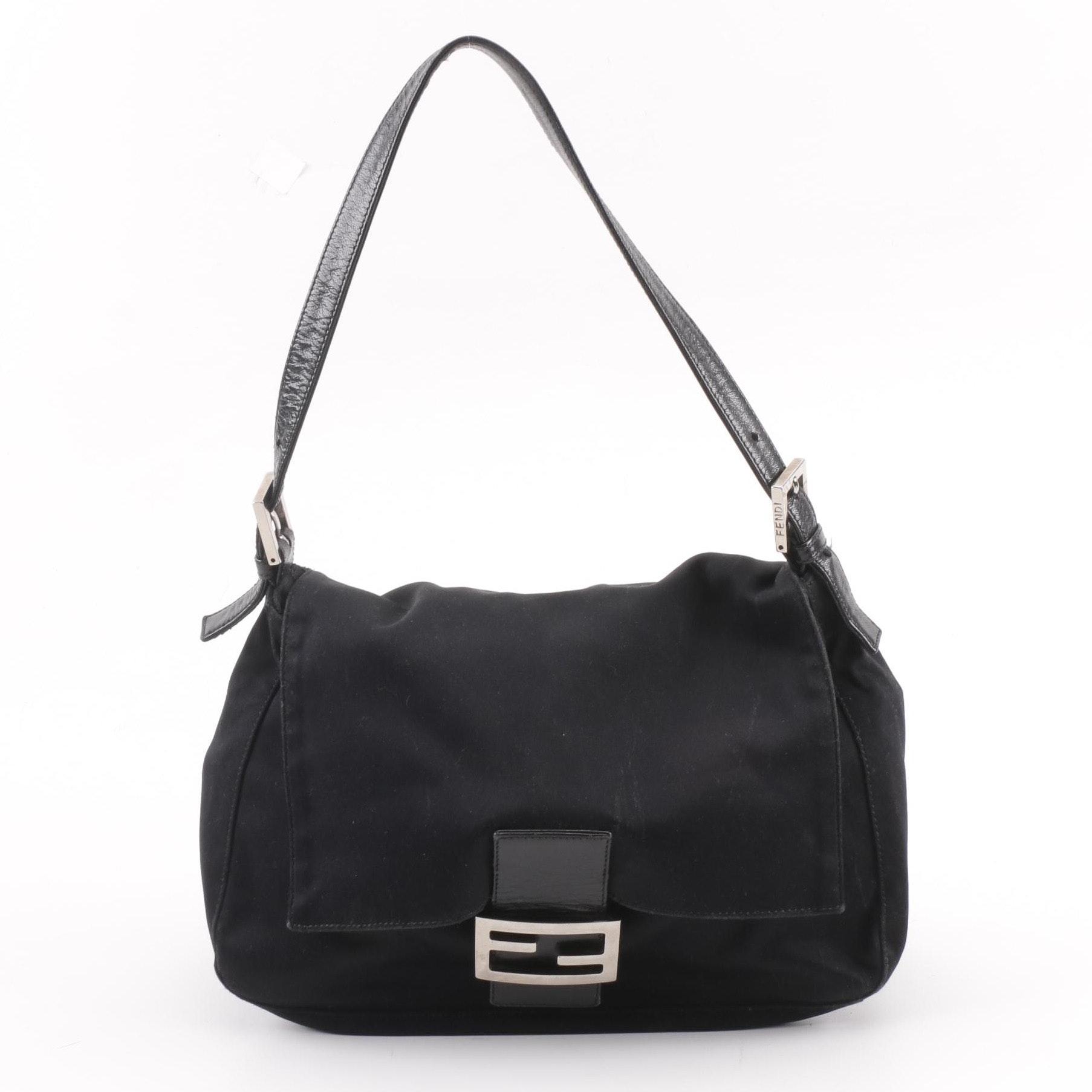 Fendi Black Canvas Flap Front Shoulder Bag