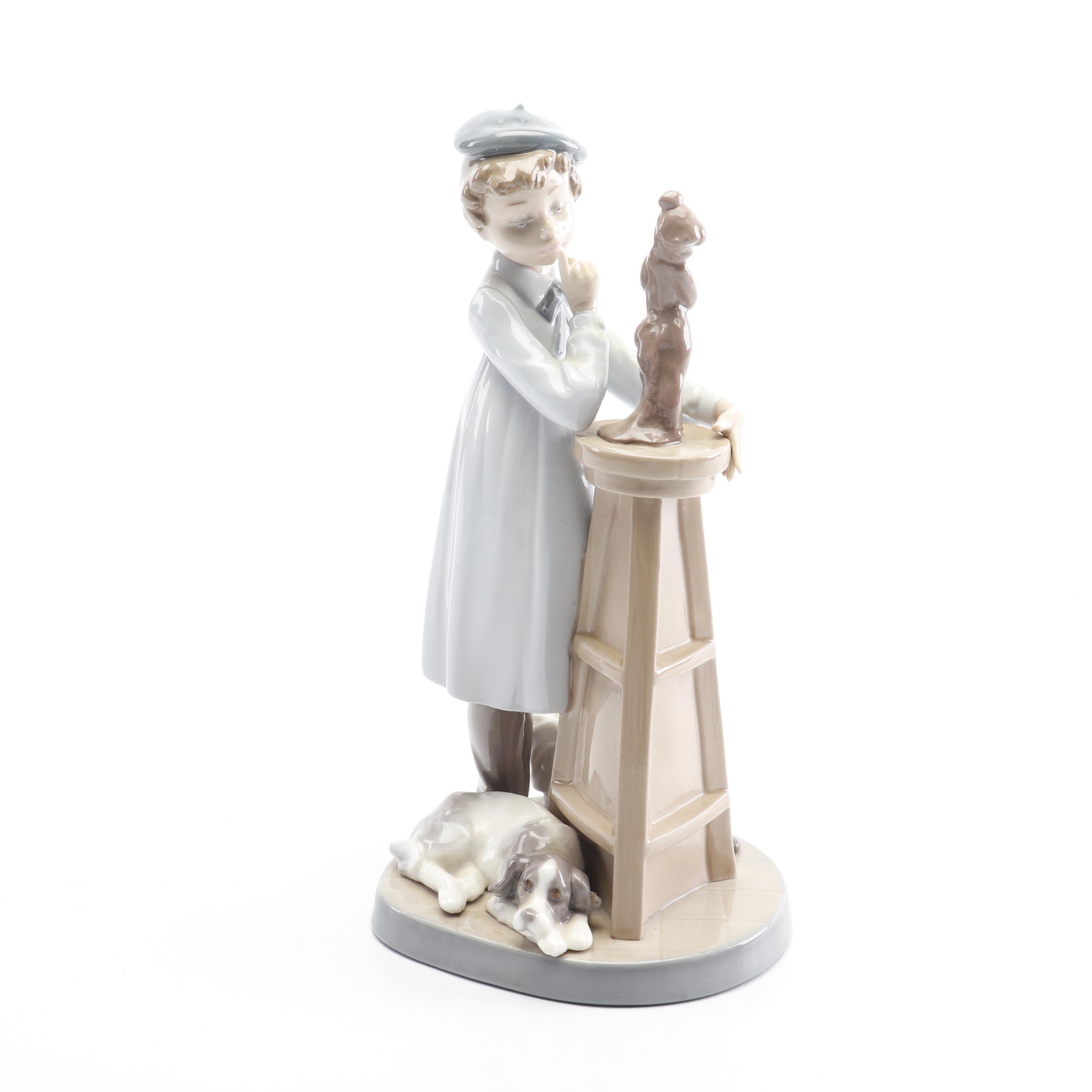 "Lladró ""Little Sculptor"" Porcelain Figurine"