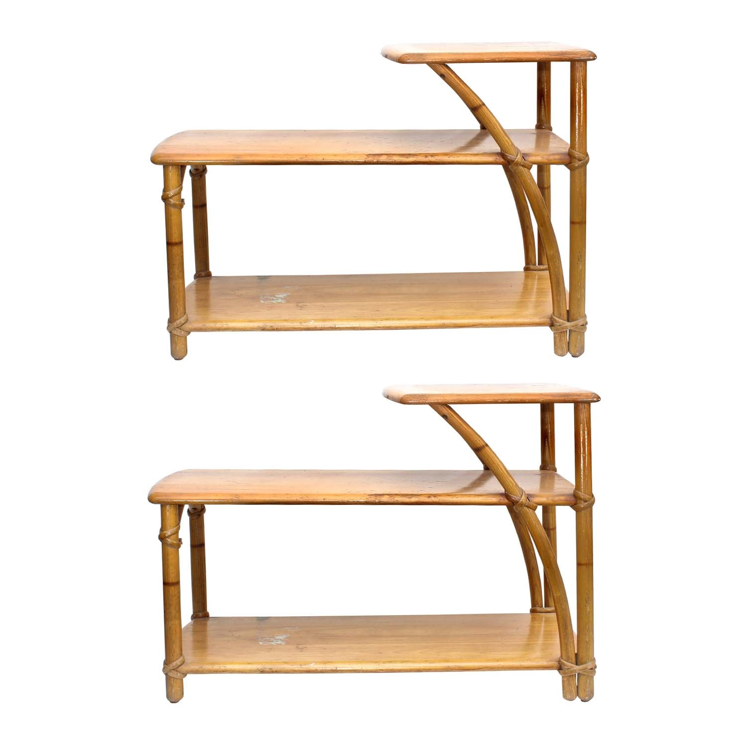 Two Vintage Heywood-Wakefield Mid-Century Modern Bamboo Tables