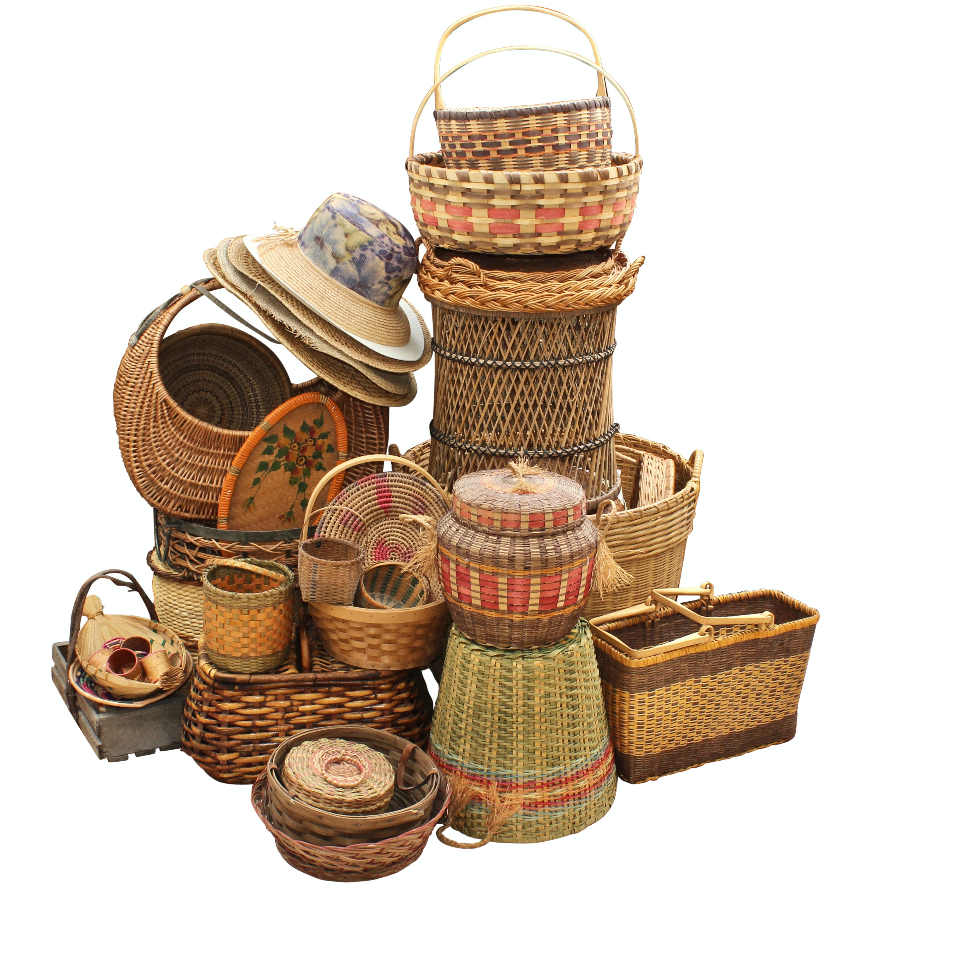 Collection of Hand Woven Decor Including Baskets and Straw Hats