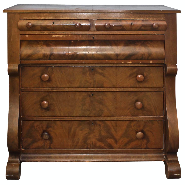 Antique Burl Wood Veneer Dresser