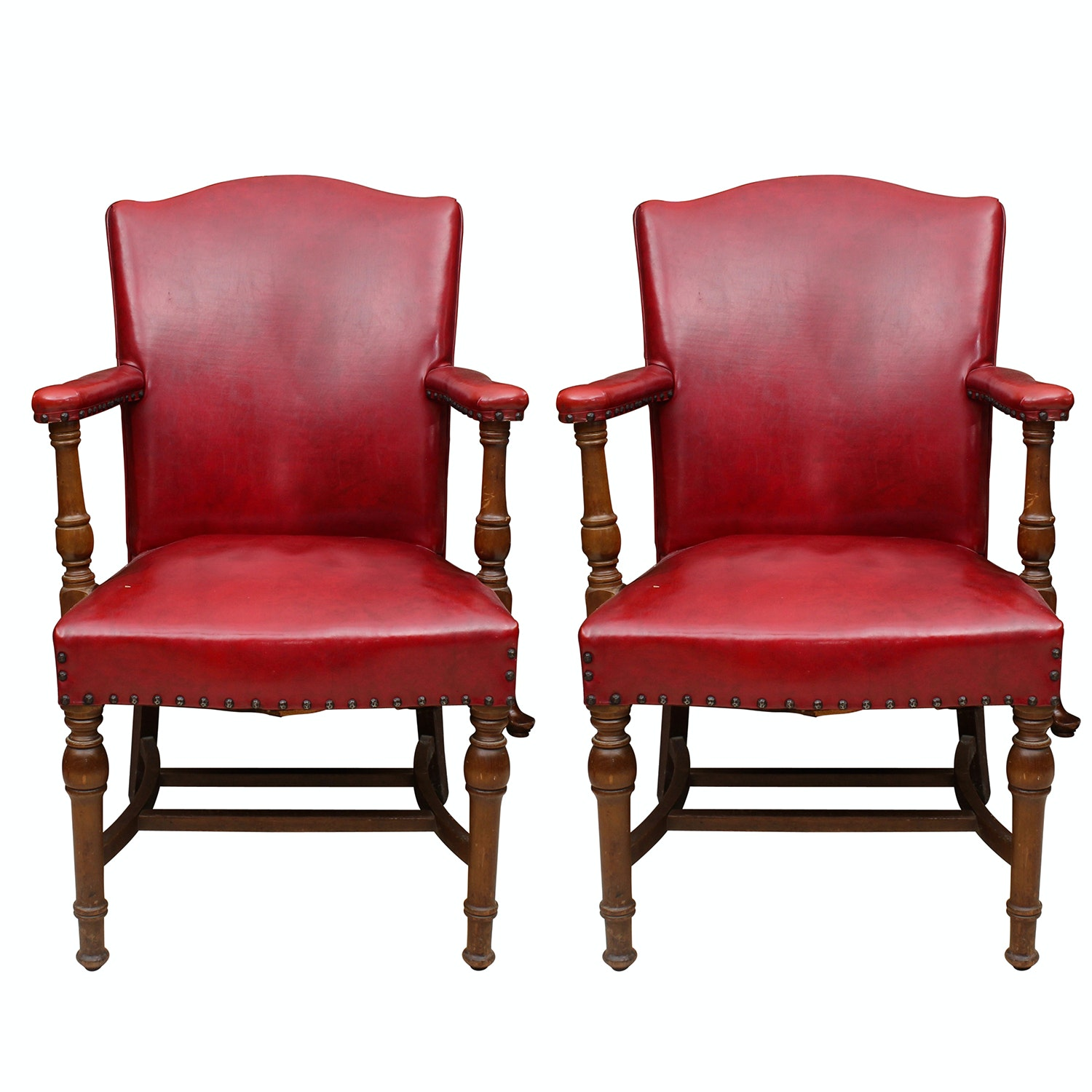 Vintage Red Naugahyde Armchairs