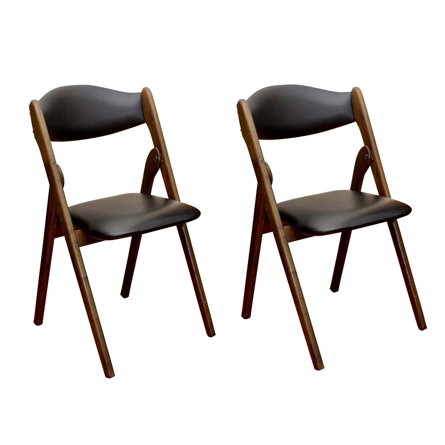 Pair of Willkie Mid-Century Modern Folding Chairs