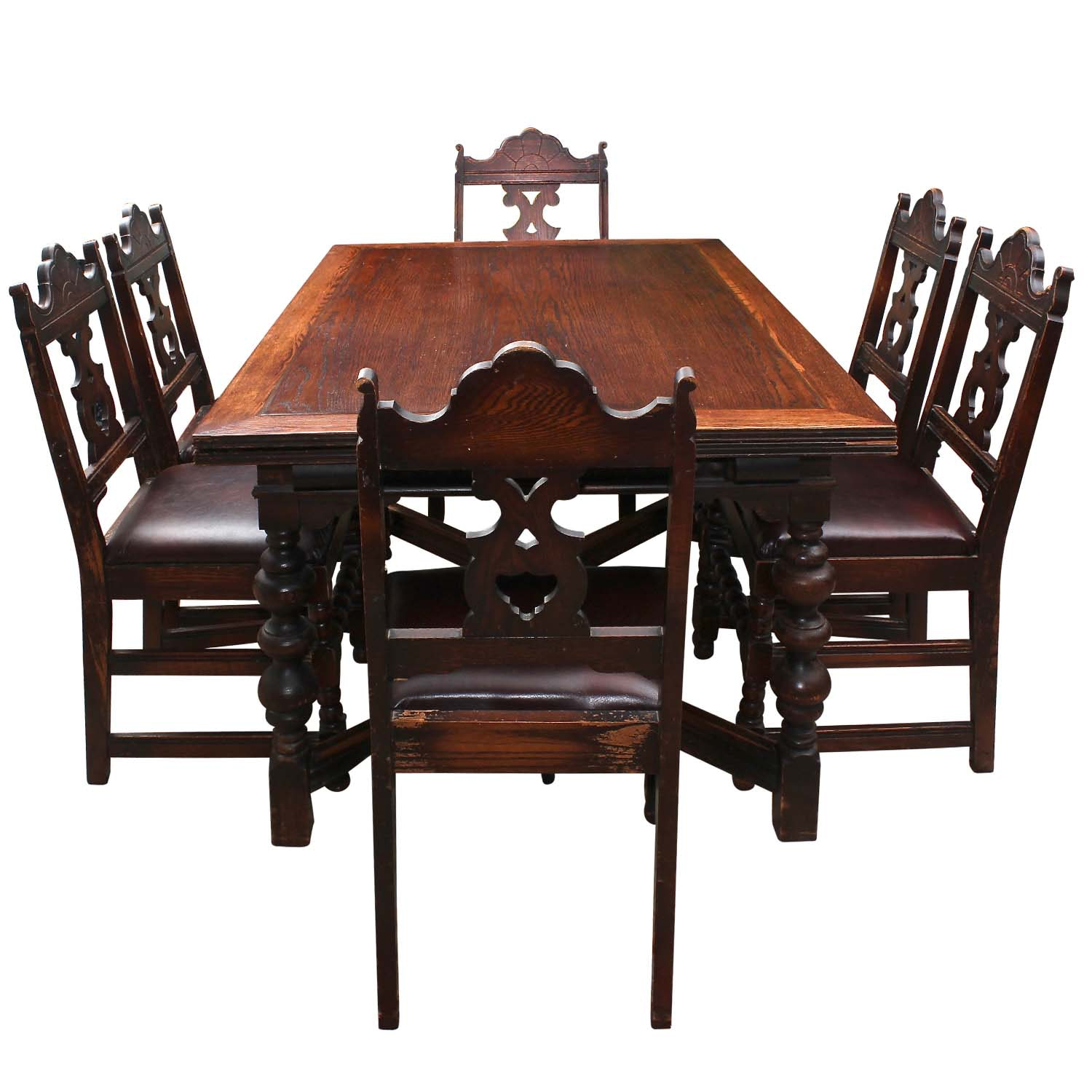 Vintage Mediterranean Style Mahogany Dining Table and Chairs