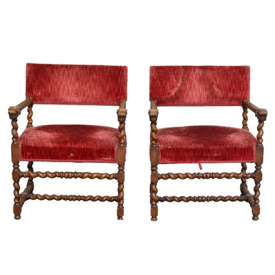 Louis XIII Style Walnut Armchairs, 20th Century