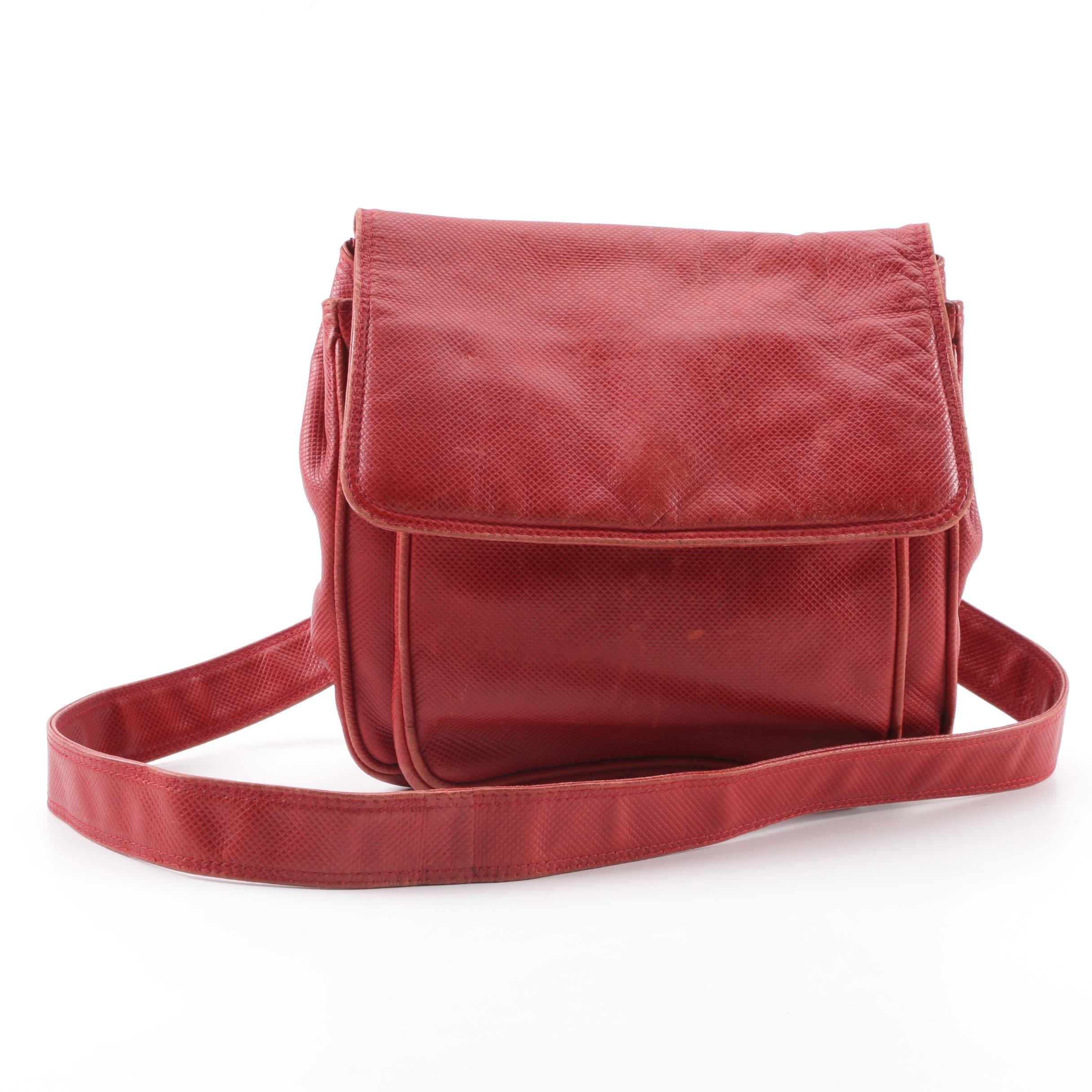 Vintage Bottega Veneta Embossed Red Leather Shoulder Bag