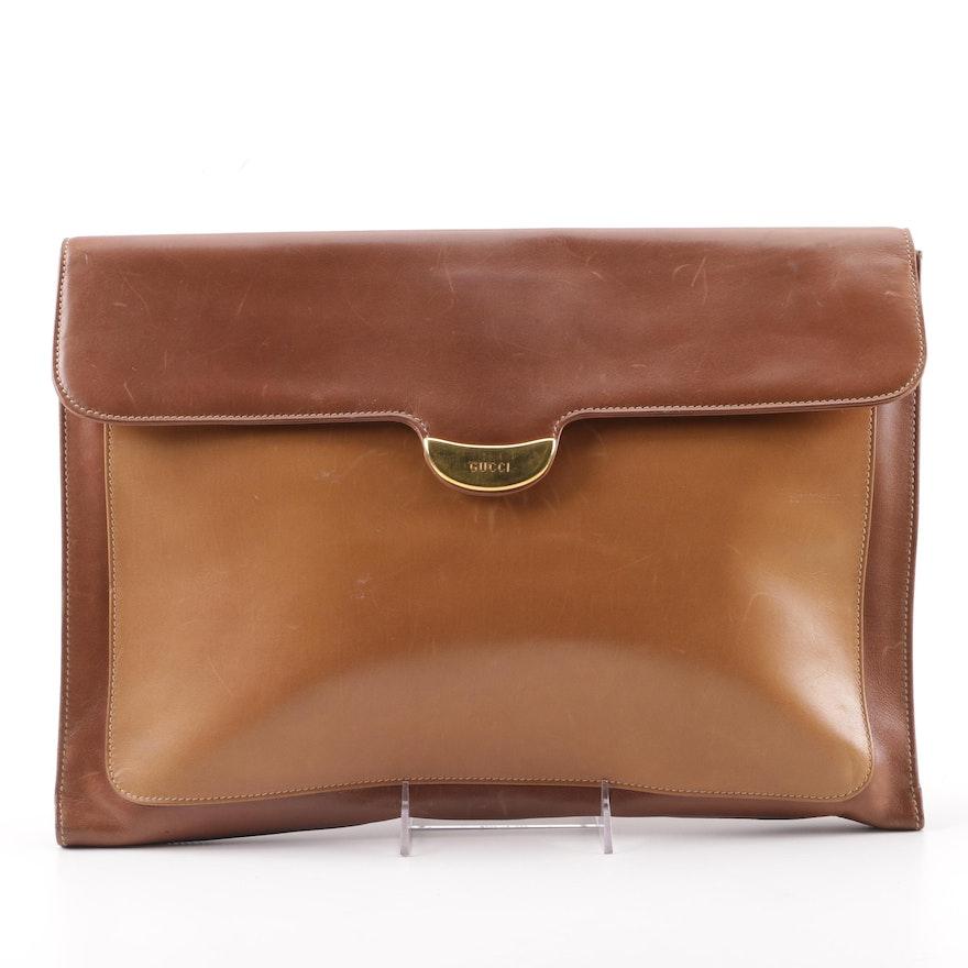 online store 5302d 7738e Vintage Gucci Two-Tone Brown Leather Attaché Case