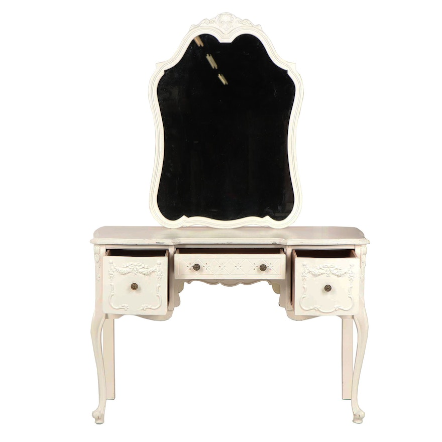 French Style Painted Wooden Vanity Table With Mirror And Chair 20th