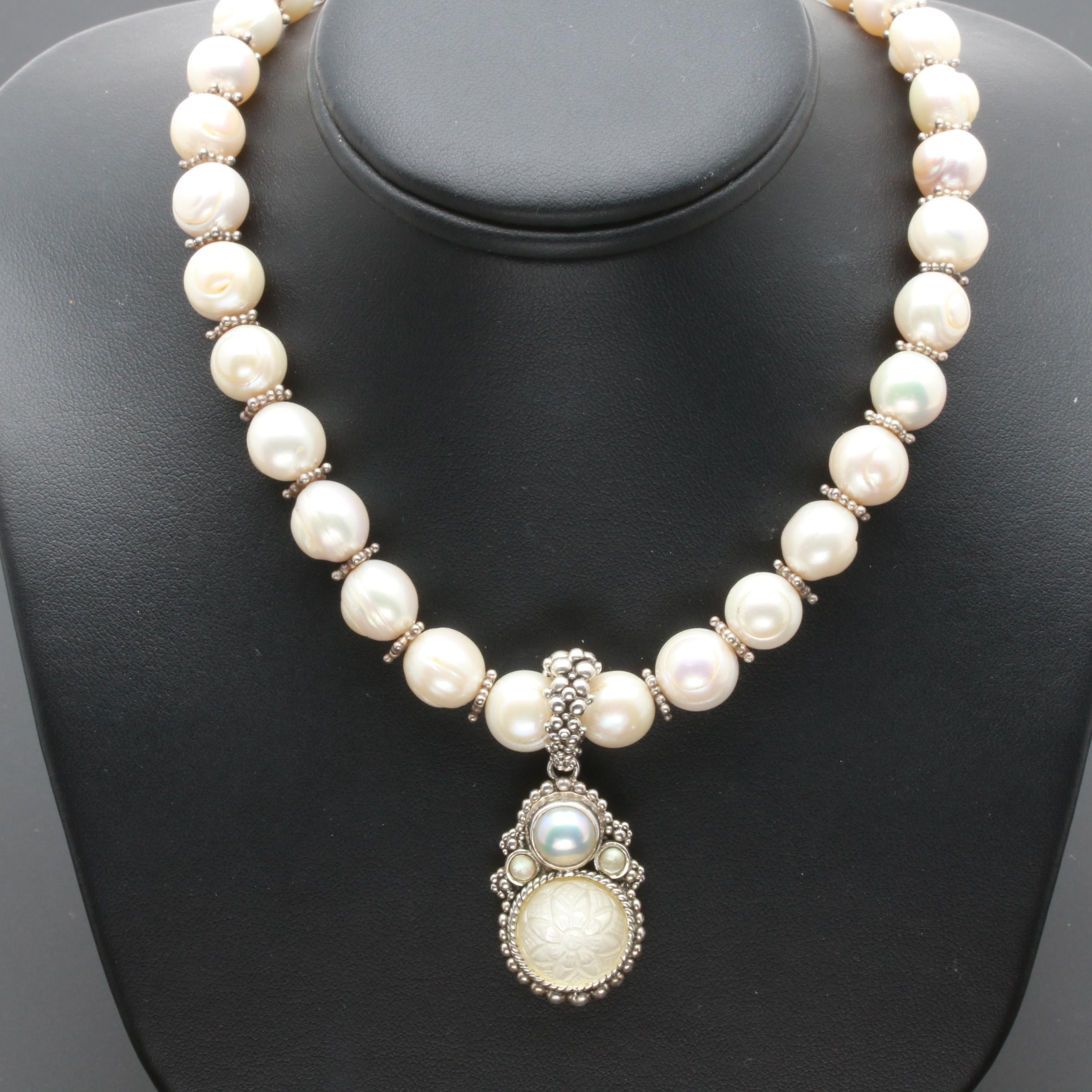 Stephen Dweck Sterling Silver Cultured Pearl and Quartz Necklace
