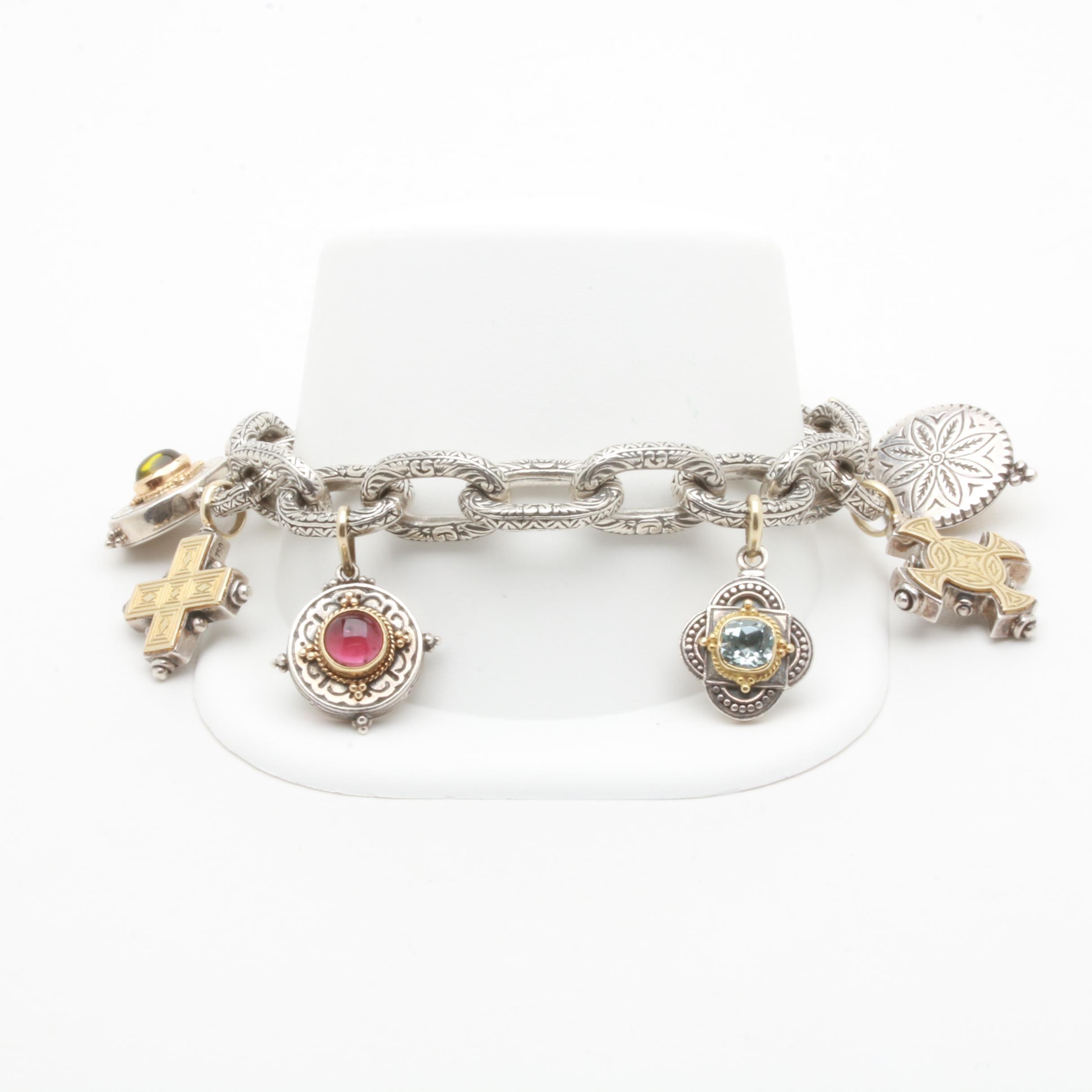 Konstantino Sterling Silver 14K Gold Accented Gemstone Pendant Bracelet