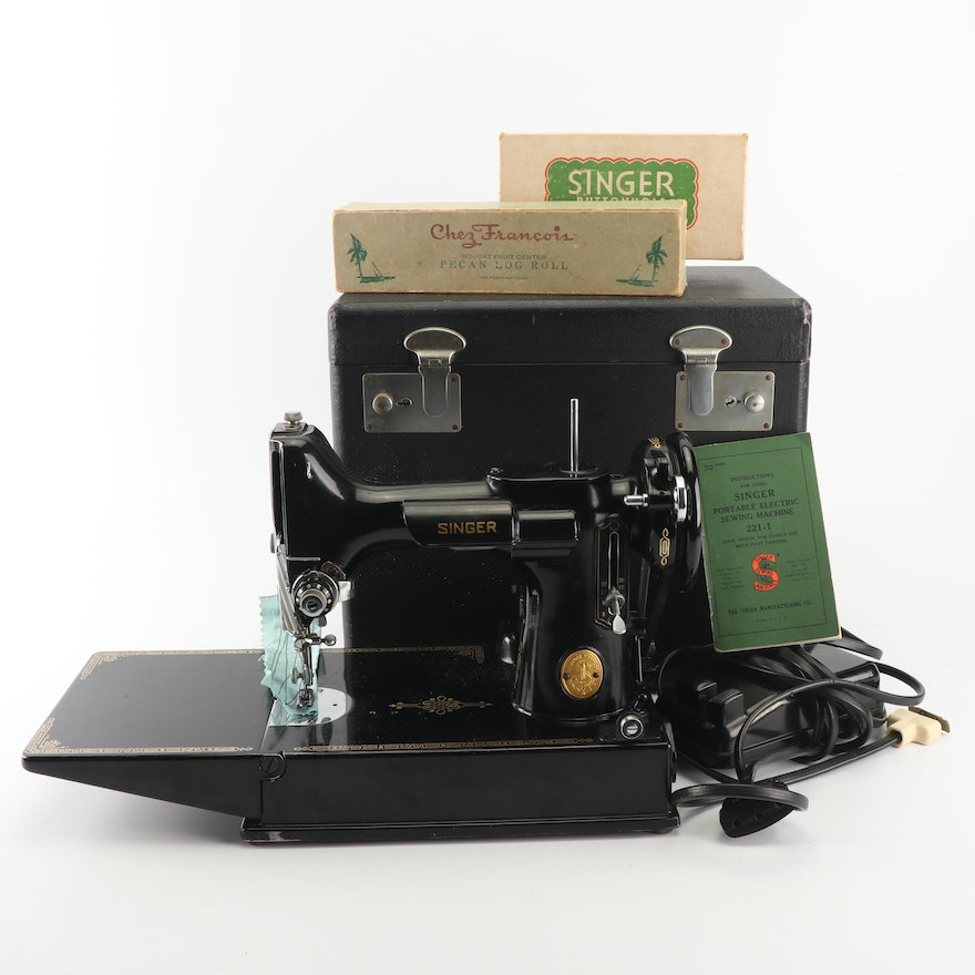 Singer Featherweight 221-1 Sewing Machine with Case and Accessories, 1948