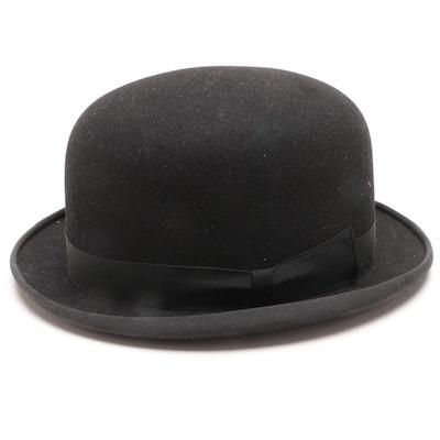 046a0b14aa7ad Vintage Saks Fifth Avenue Black Felt Bowler Hat Trimmed in Grosgrain