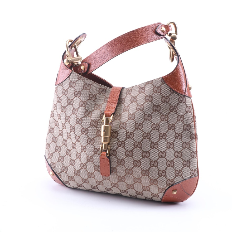 c94bef1bc21 Gucci Jackie GG Canvas and Leather Small Hobo Bag   EBTH