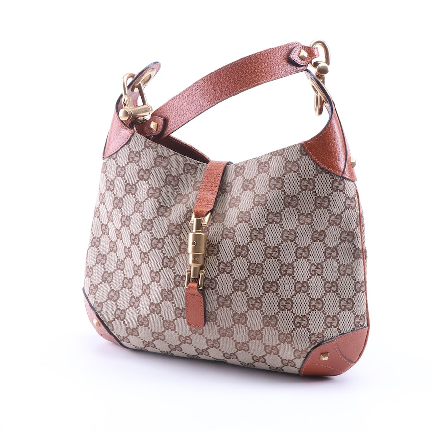 b3c6e5b8 Gucci Jackie GG Canvas and Leather Small Hobo Bag | EBTH