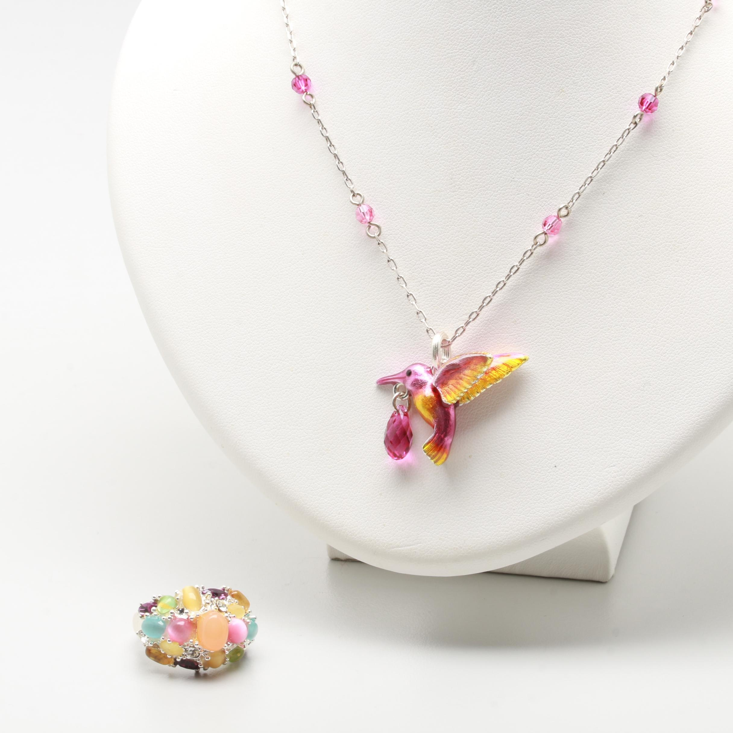 Silver Tone Glass and Enamel Bird Necklace and Ring