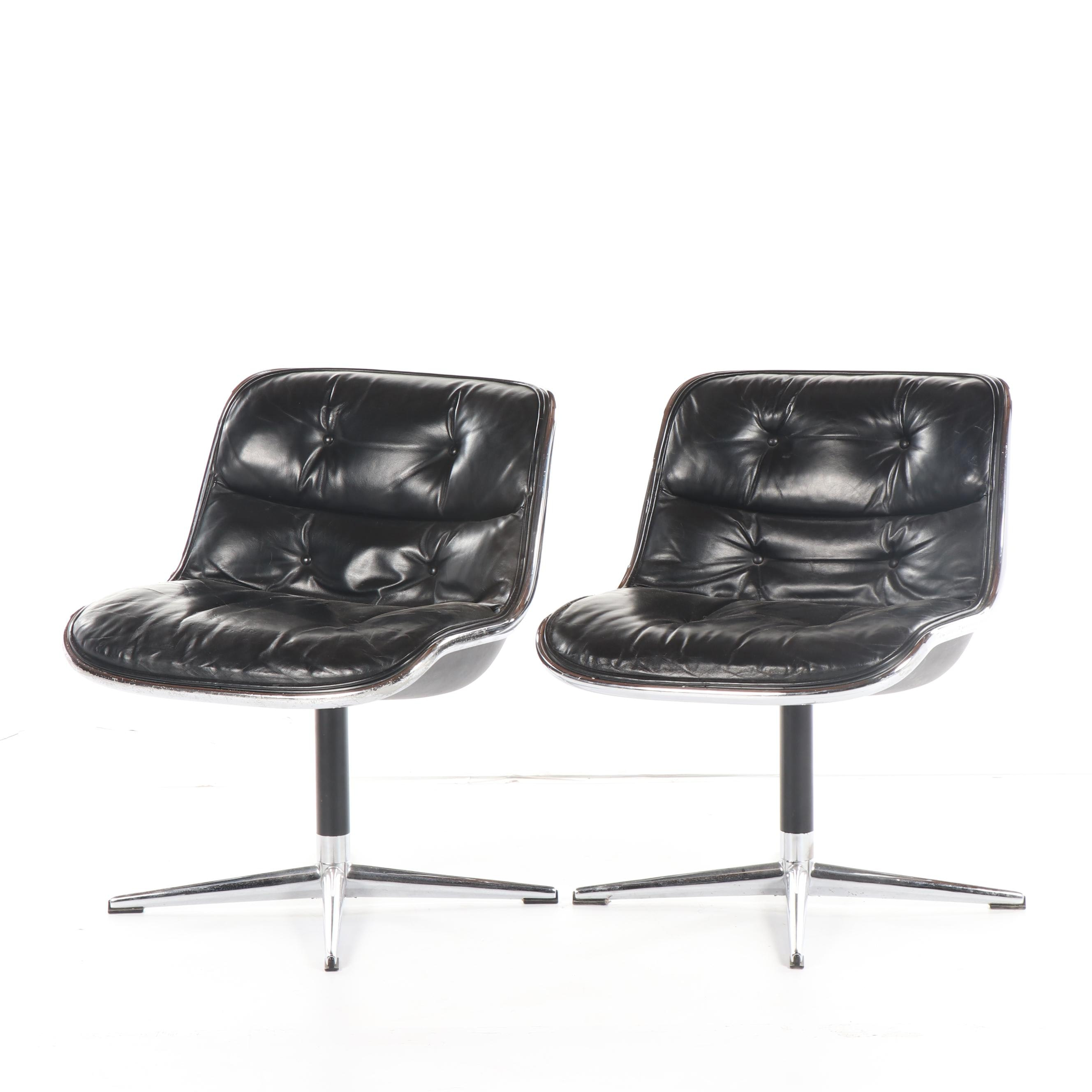 "Leather ""Pollock Executive Chair"" Pair by Knoll International, Circa 1970s"