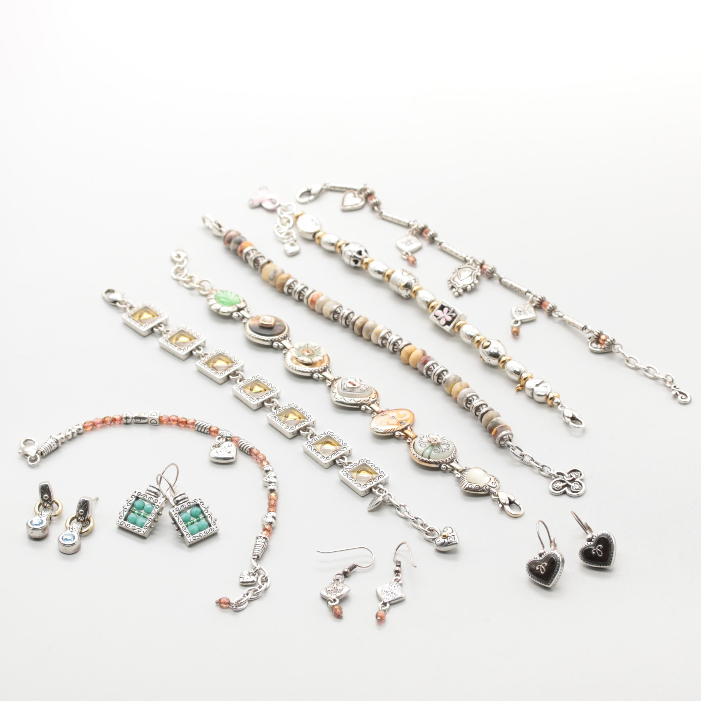 Silver Tone Jasper, Enamel and Shell Costume Jewelry Assortment with Brighton