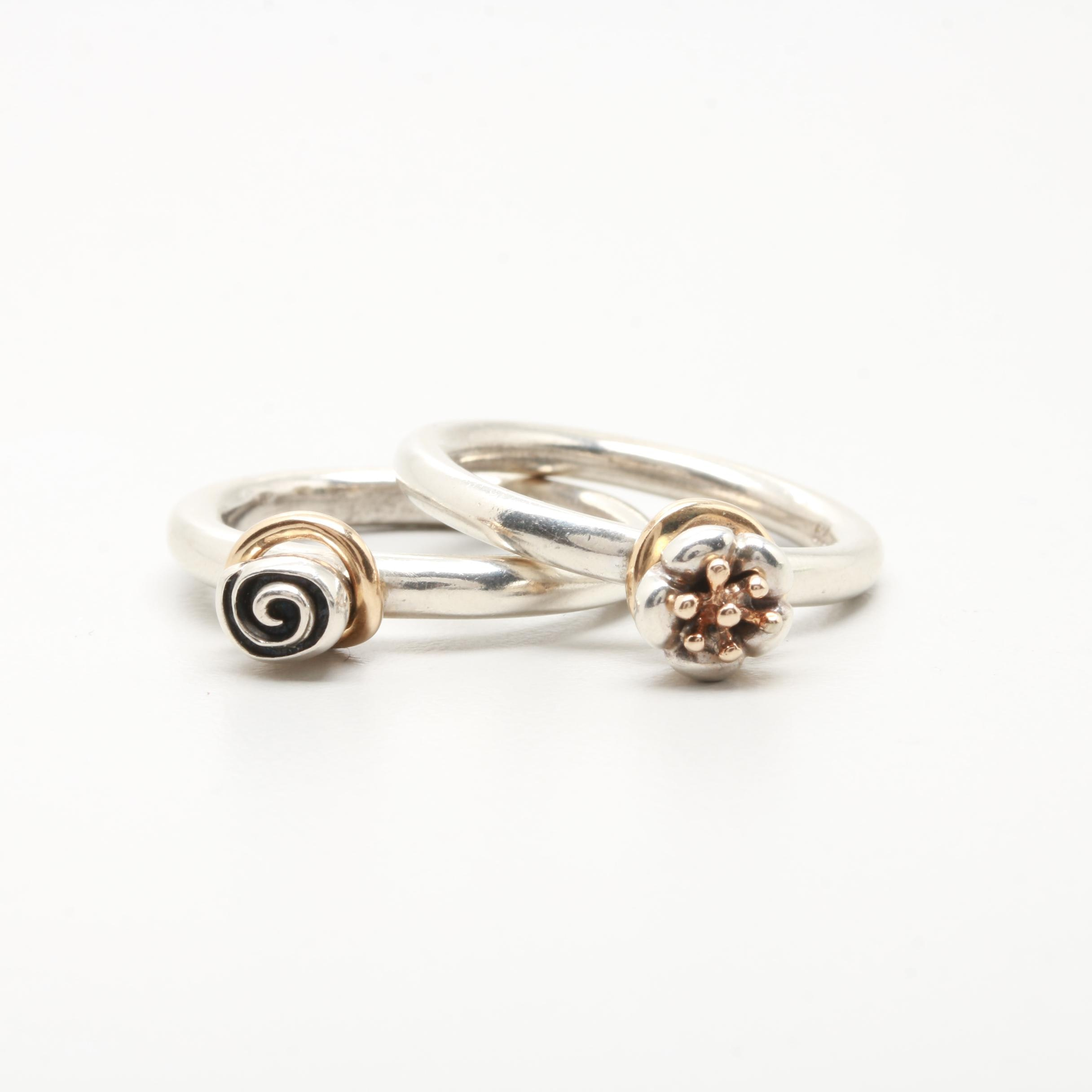 Pandora Sterling Silver Rings with 14K Gold Accents