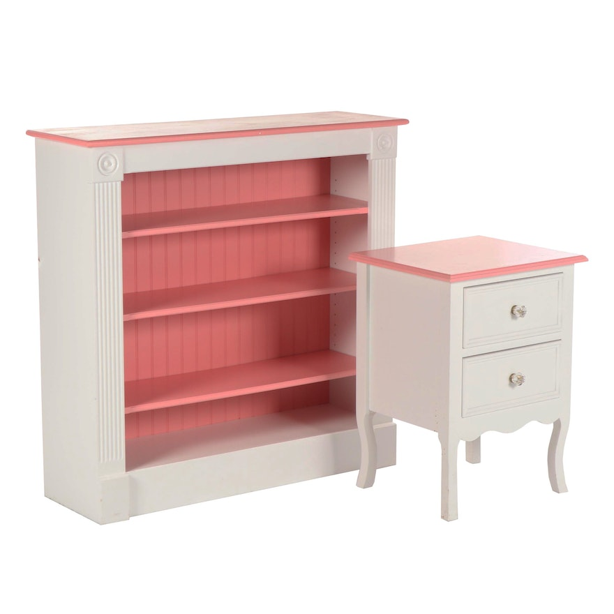 Painted Wooden Bookshelf And Nightstand 21st Century