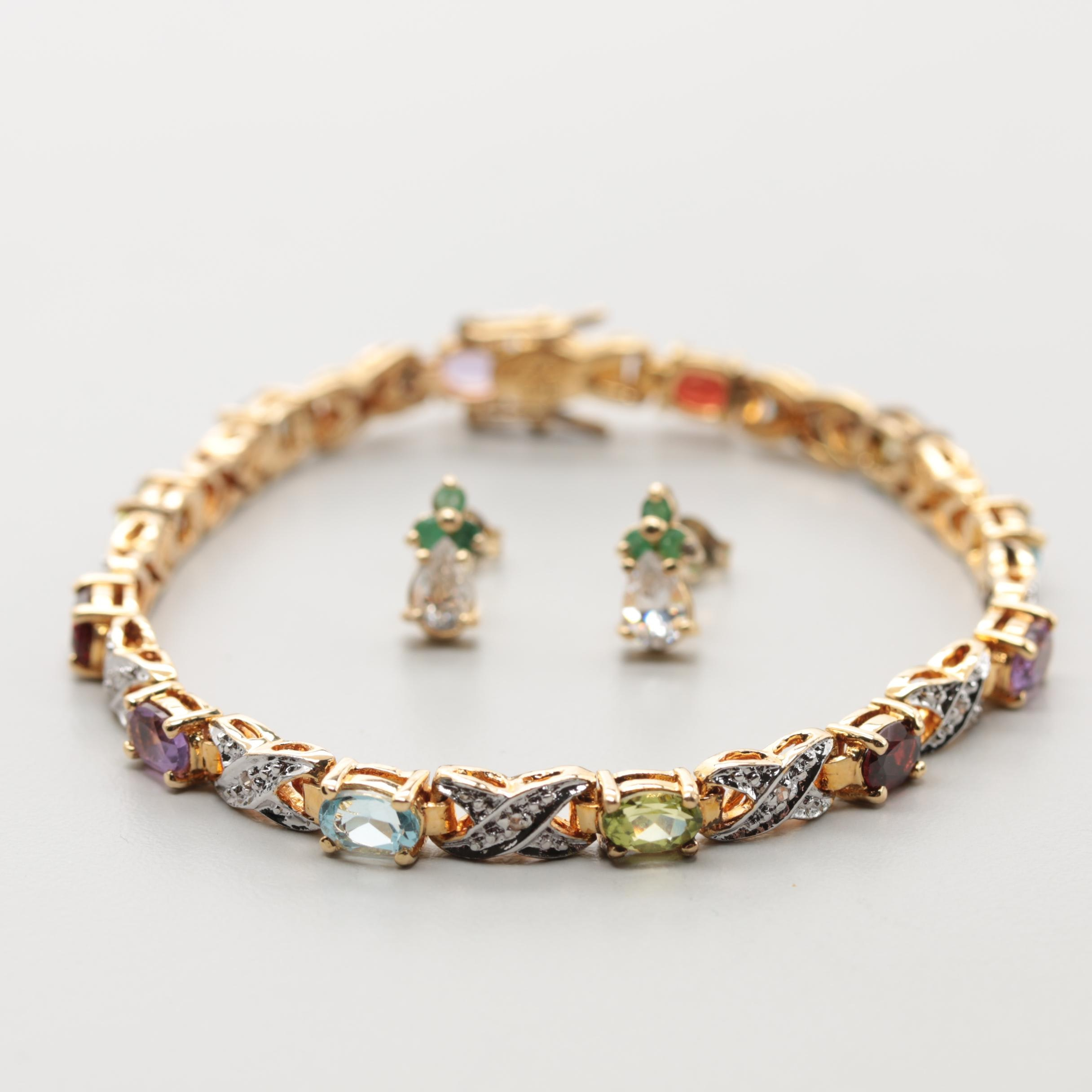 Gold Wash on Sterling Silver Diamond and Gemstone Bracelets and Earrings