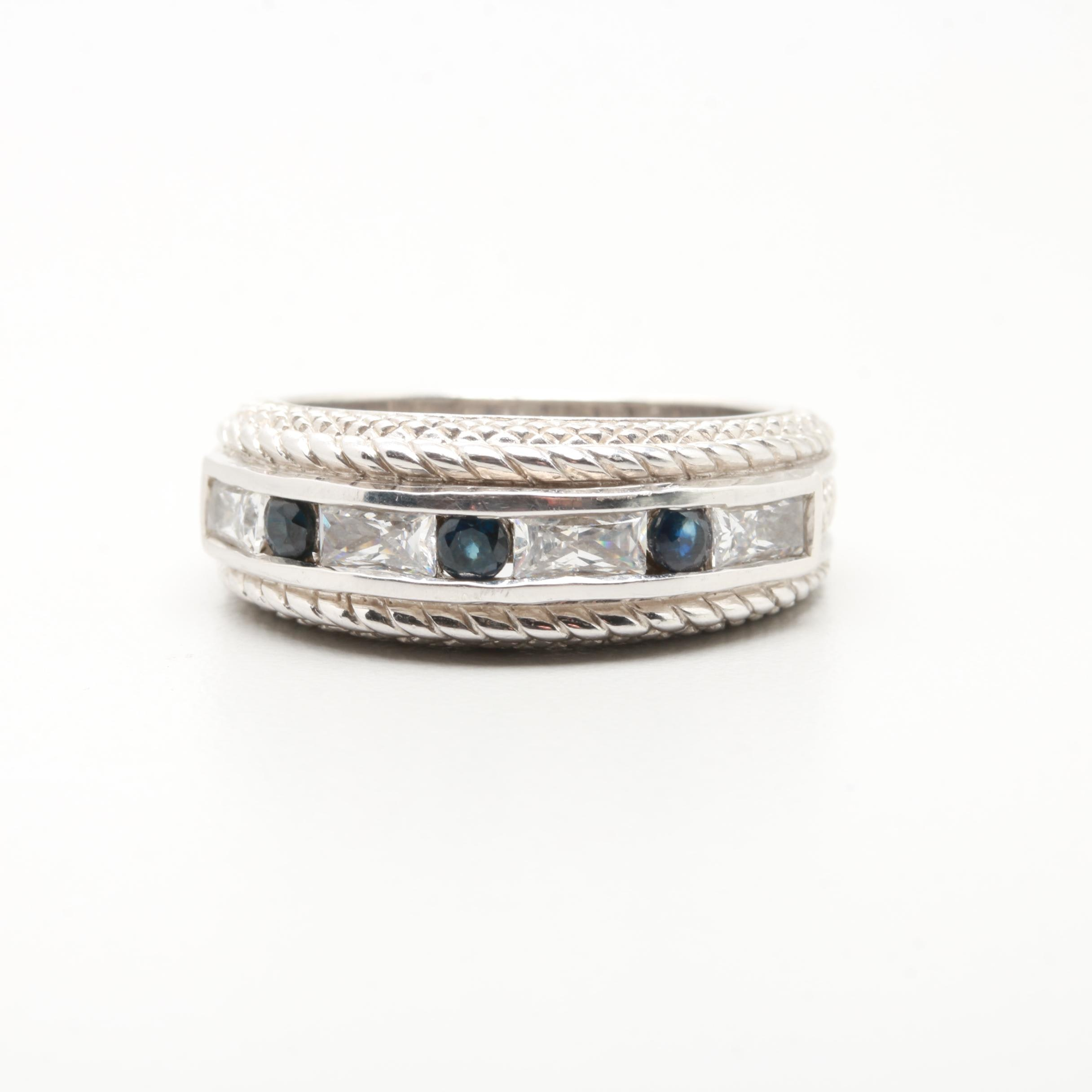 Judith Ripka Sterling Silver Synthetic Blue Sapphire and Cubic Zirconia Ring